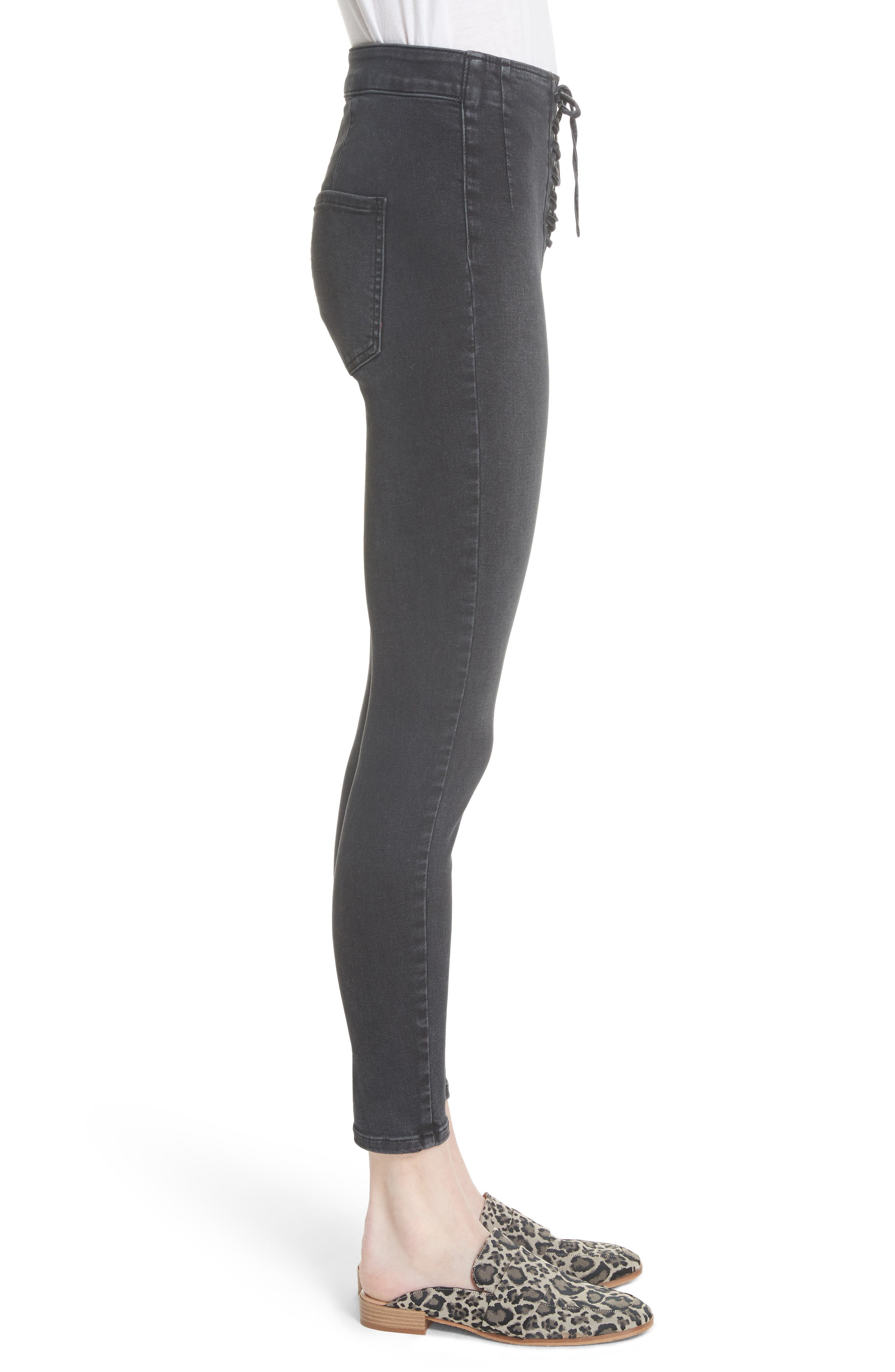 Lace-Up High Waist Denim Leggings,                             Alternate thumbnail 3, color,                             Black