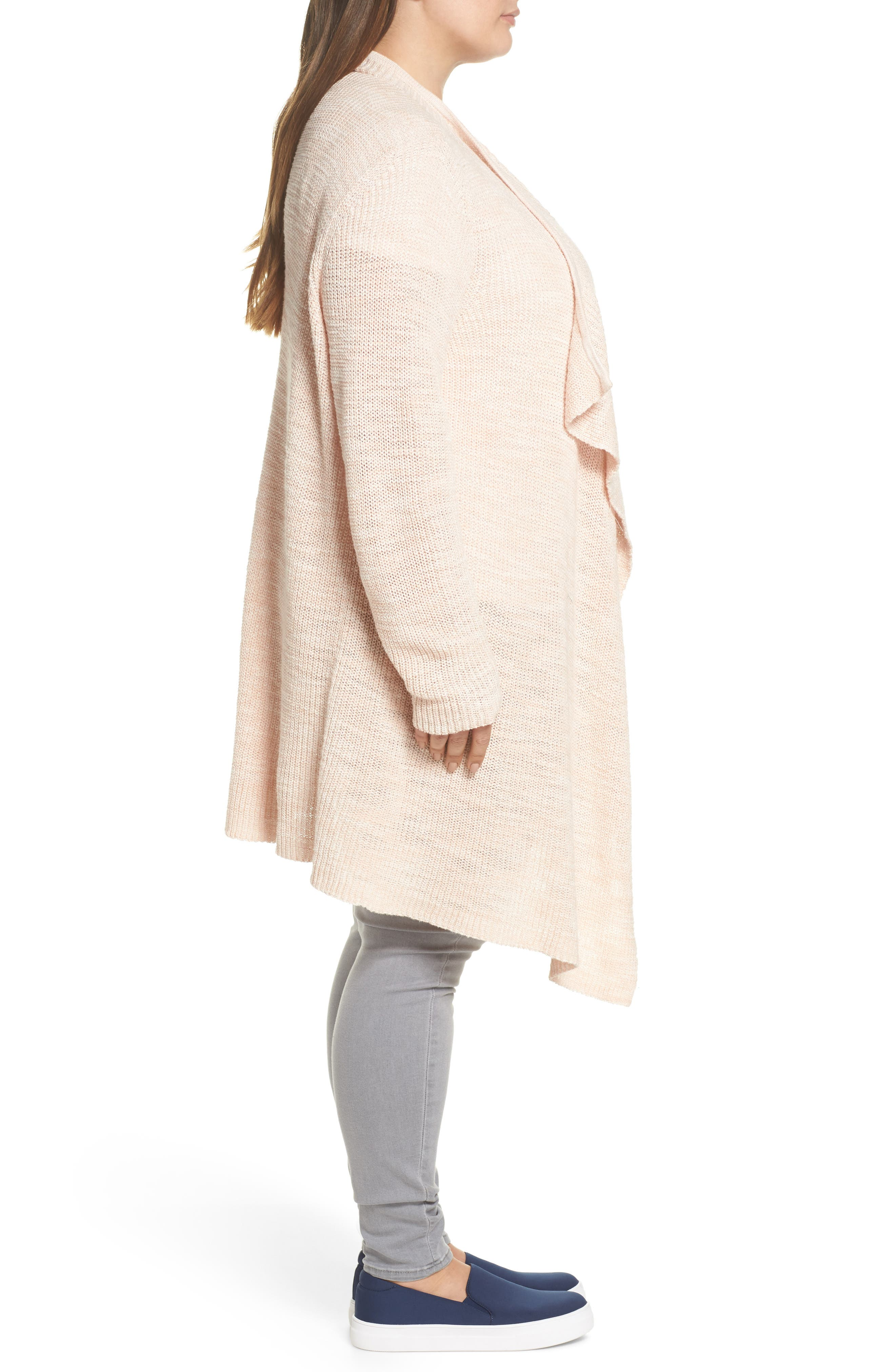 Drape Front Long Cardigan,                             Alternate thumbnail 3, color,                             Beige-Ivory Marl