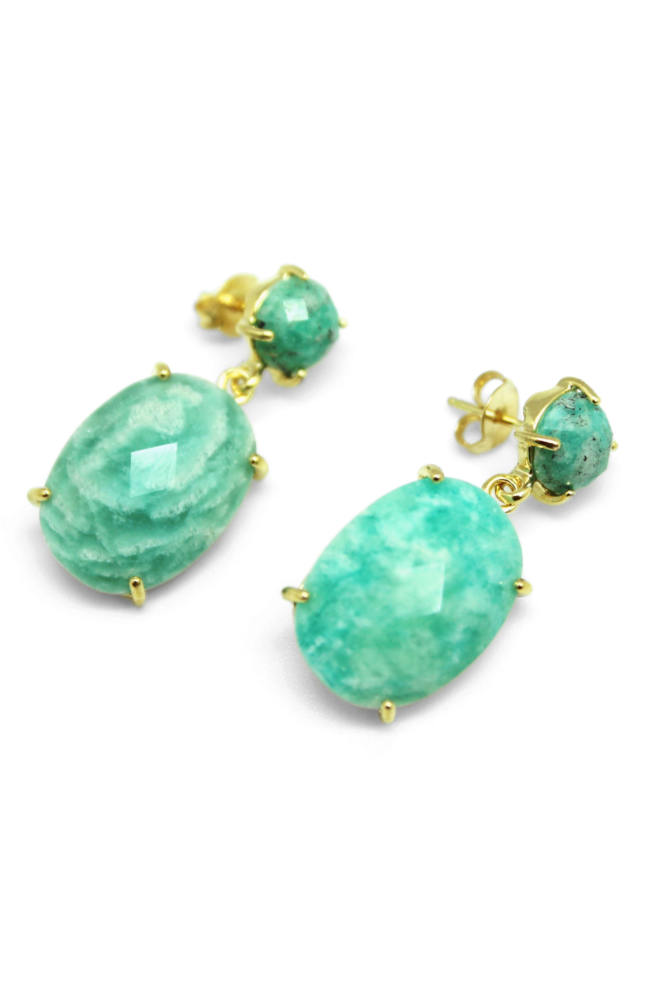 Faceted Stone Drop Earrings,                             Main thumbnail 1, color,                             Aqua