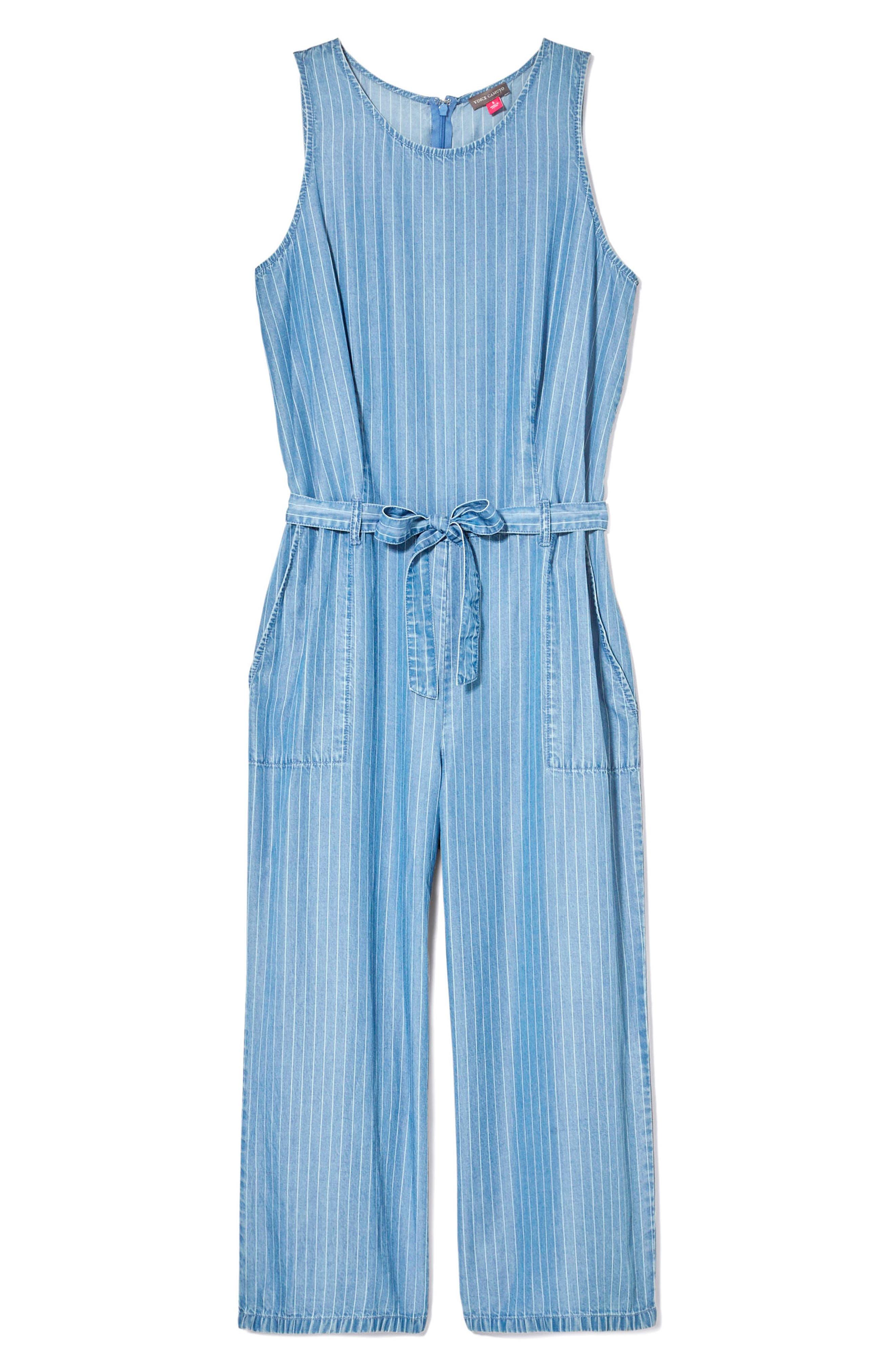 Sleeveless Stripe Belted Jumpsuit,                             Alternate thumbnail 3, color,                             Indigo Stone