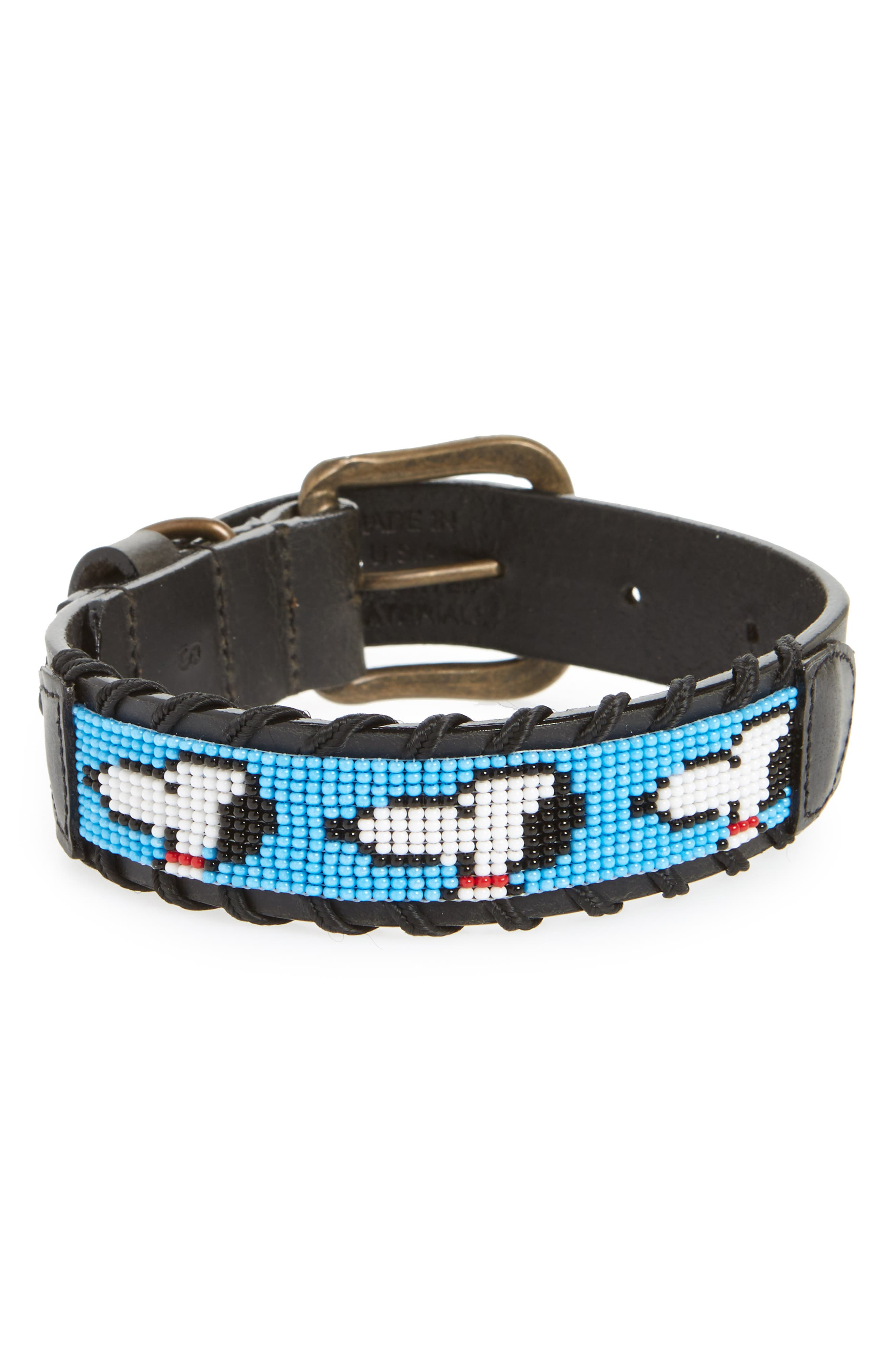 Peanuts - Snoopy Silhouette Beaded Dog Collar,                             Main thumbnail 1, color,                             Black