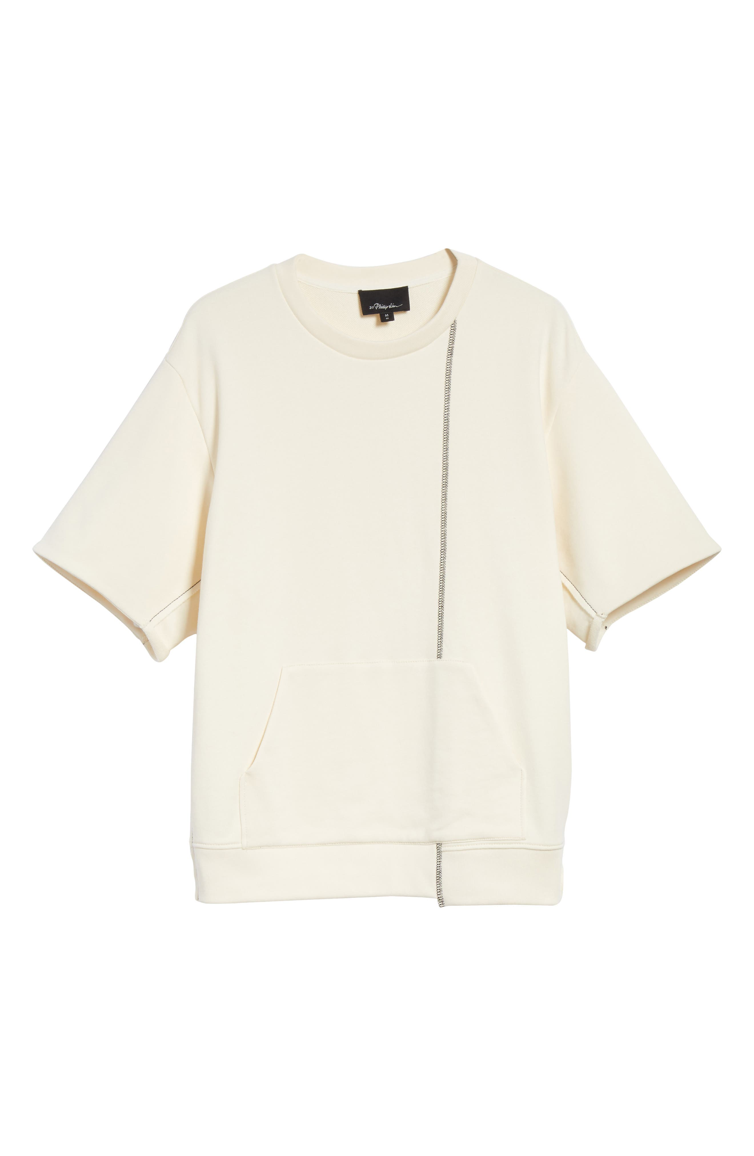 Reconstructed Short Sleeve Sweatshirt,                             Alternate thumbnail 6, color,                             Ecru
