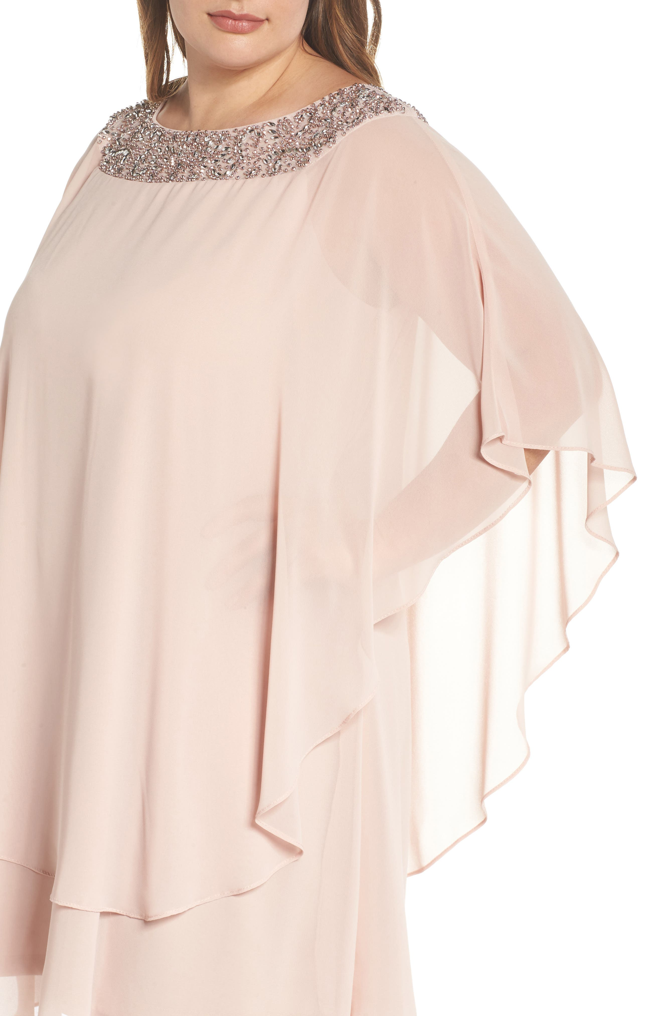 Beaded Neck Chiffon Overlay Dress,                             Alternate thumbnail 4, color,                             Blush/ Silver