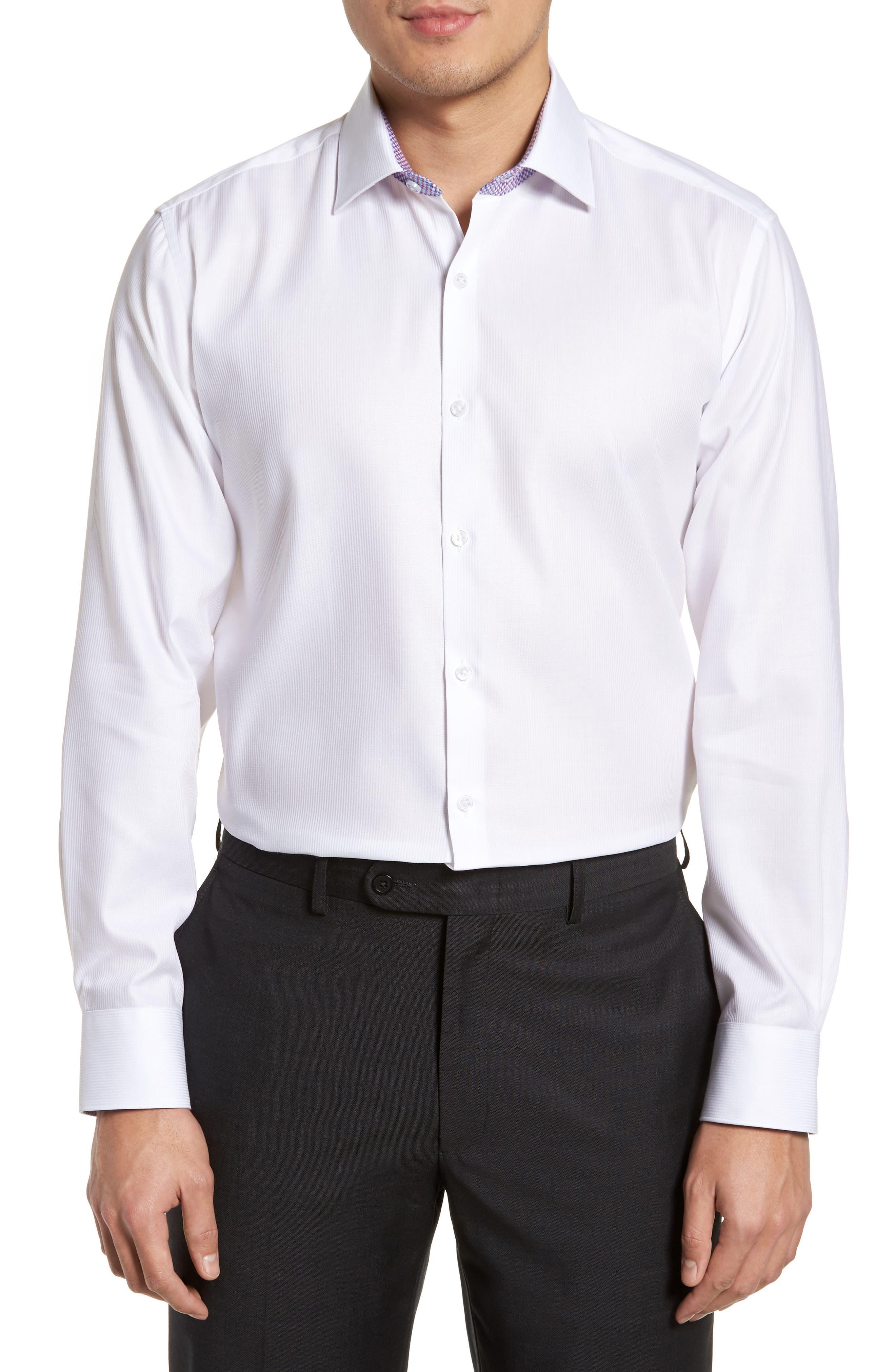 Becker Trim Fit Stripe Dress Shirt,                         Main,                         color, White