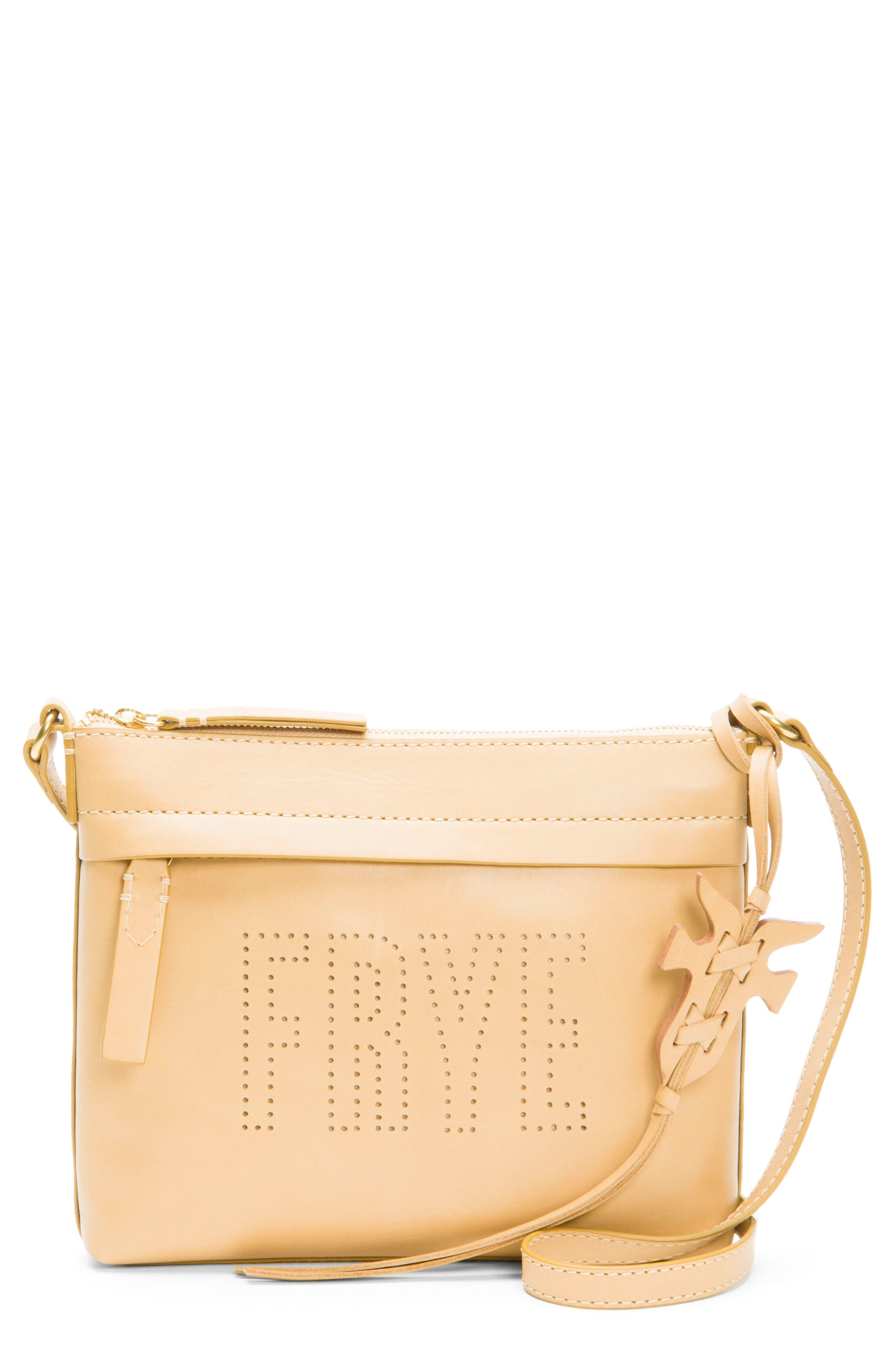 Frye Carson Perforated Logo Leather Crossbody Bag