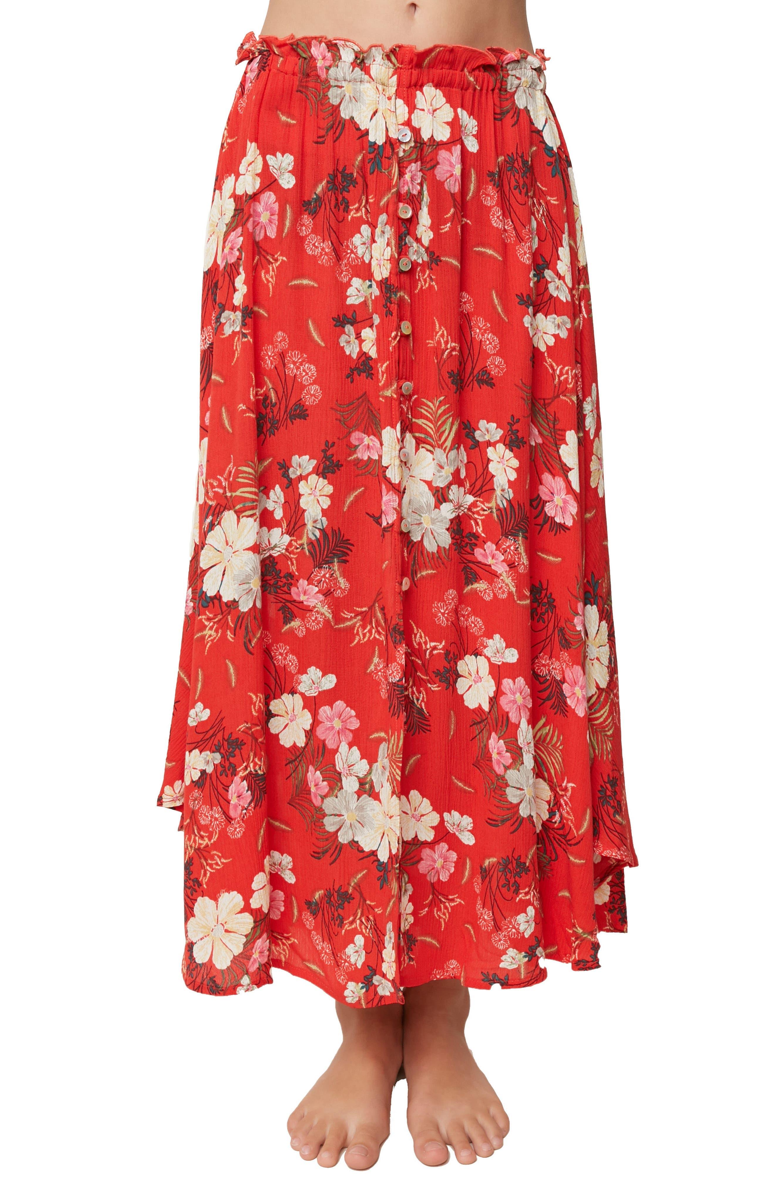 Caroline Floral Skirt,                             Alternate thumbnail 3, color,                             Poppy Red