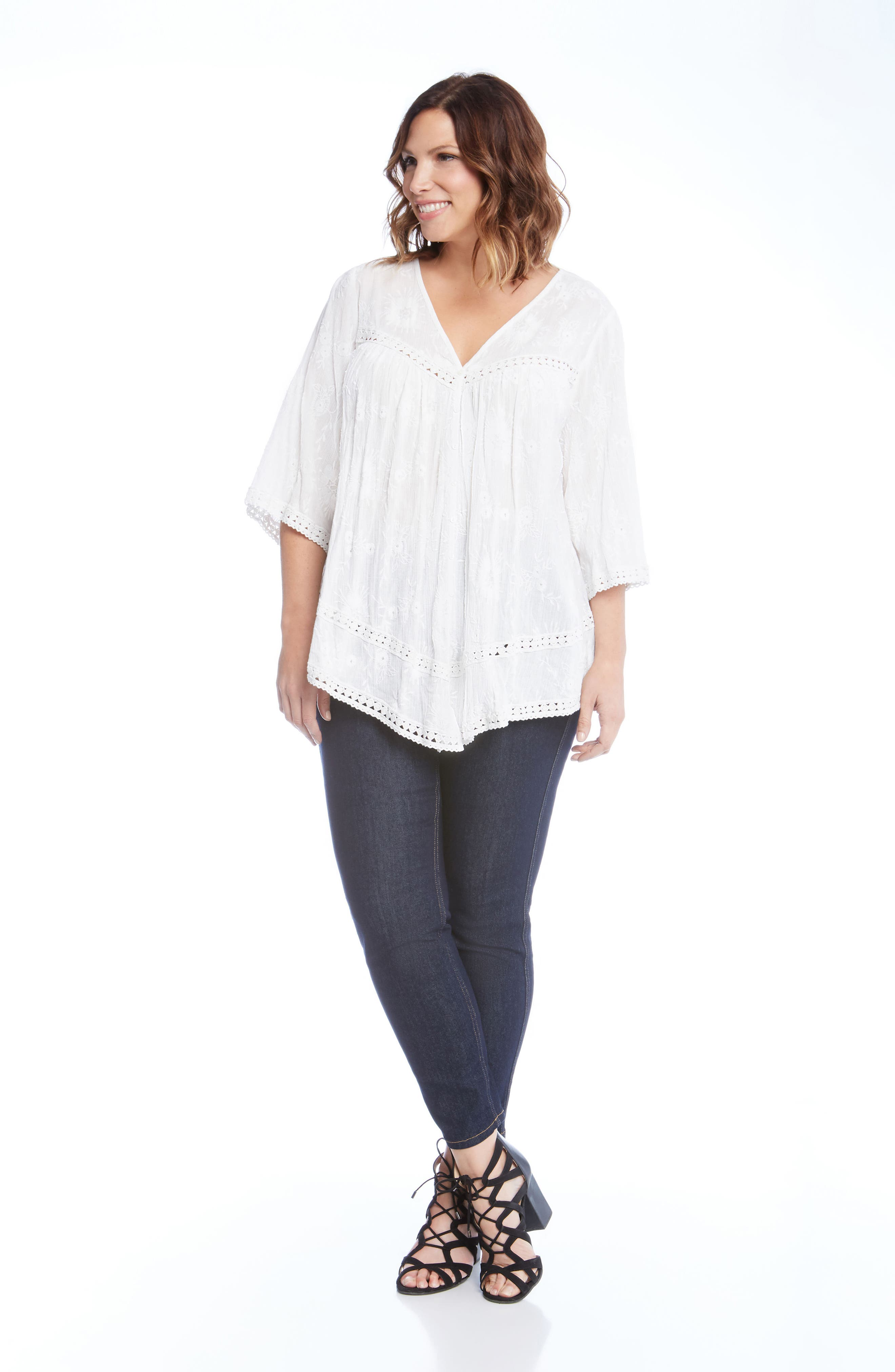 Embroidered Gauze Top,                             Alternate thumbnail 3, color,                             White