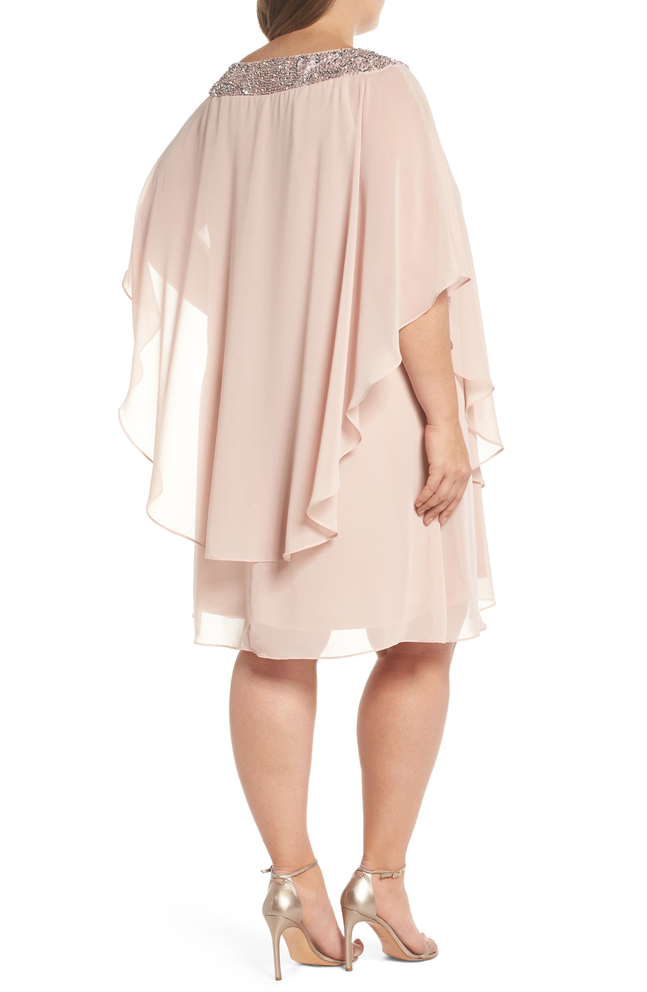 Beaded Neck Chiffon Overlay Dress,                             Alternate thumbnail 2, color,                             Blush/ Silver