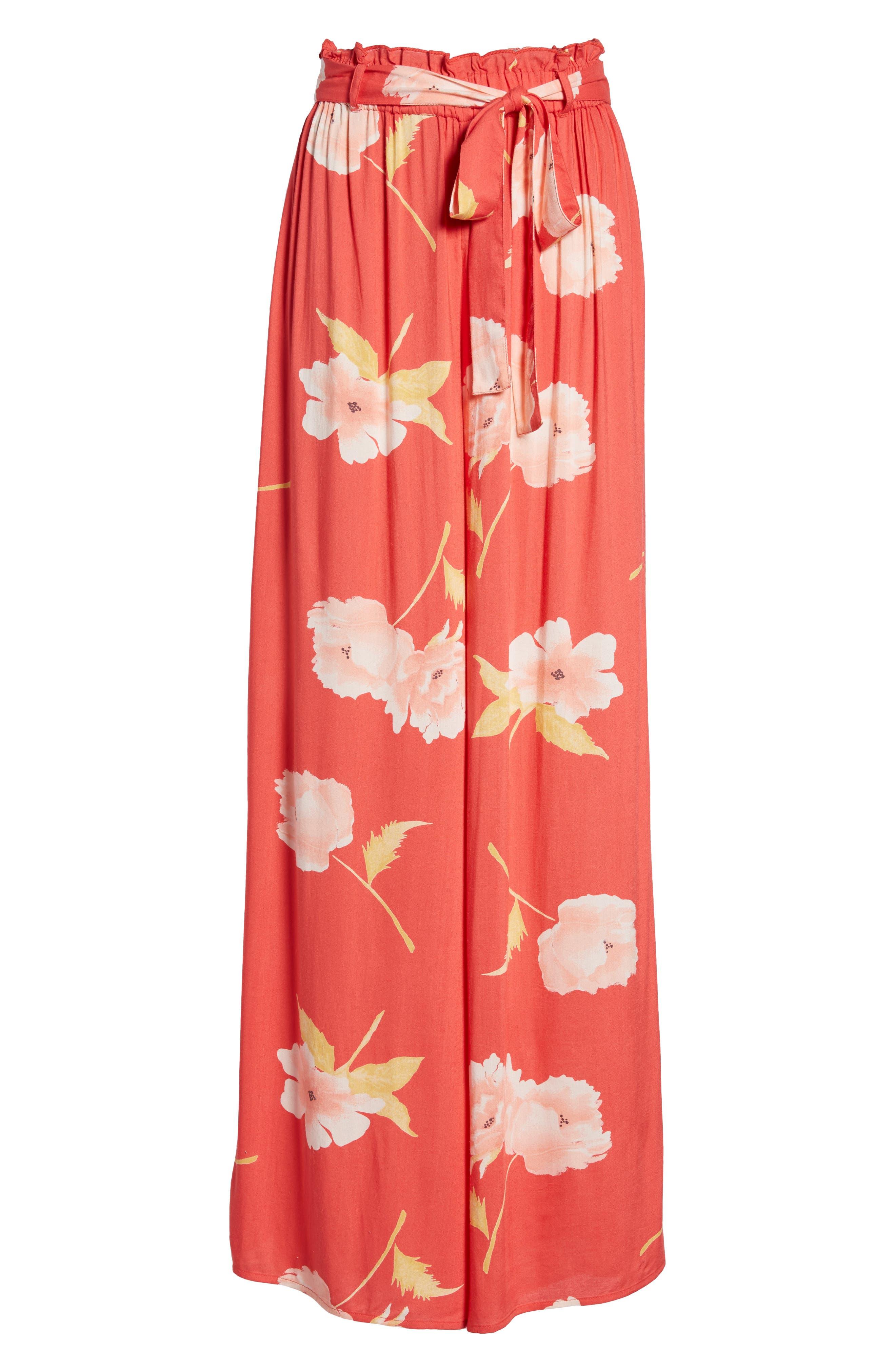 Happy Dance Floral Wide Leg Pants,                             Alternate thumbnail 7, color,                             Ger-Geranium