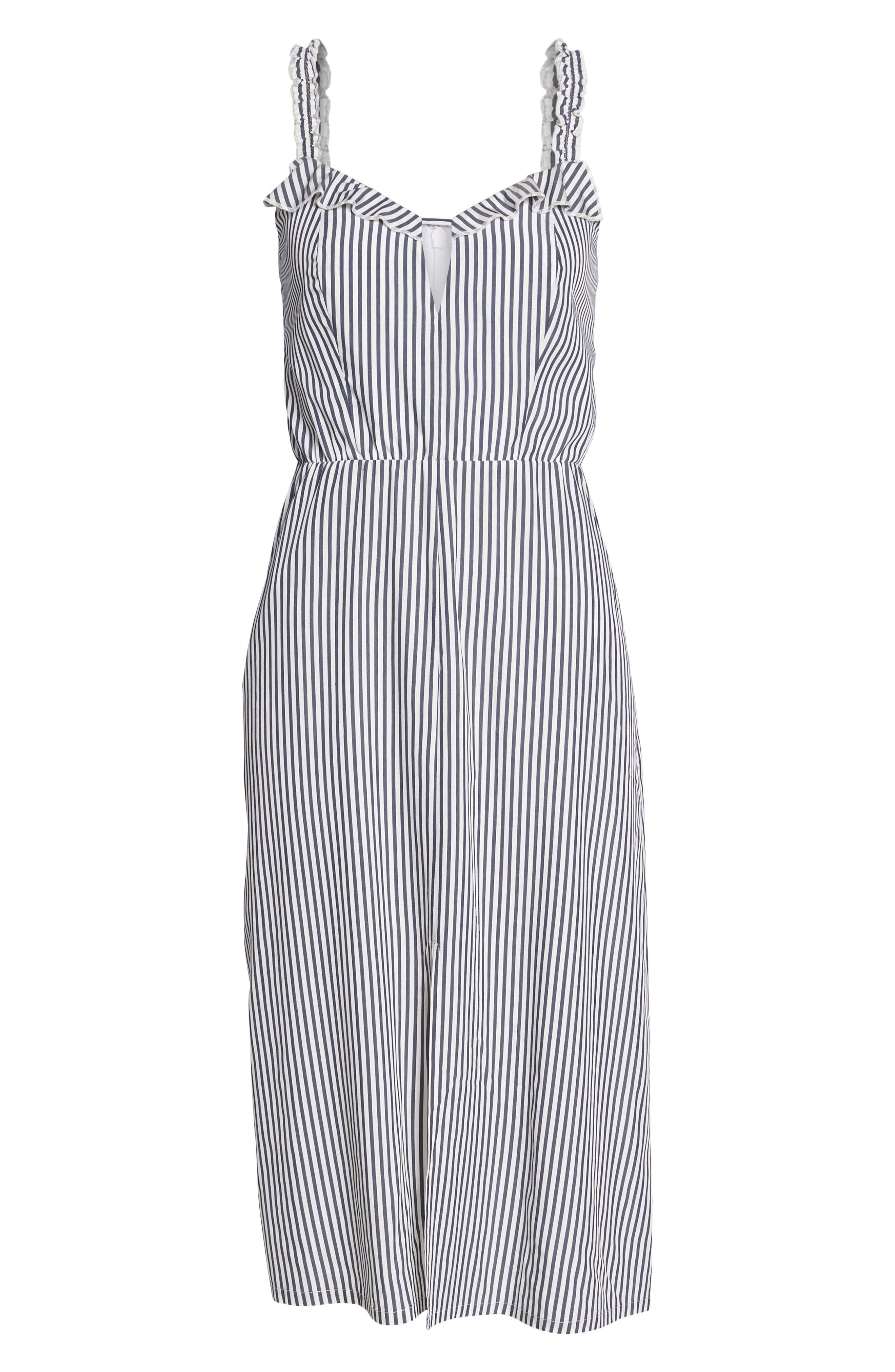 Drinks On Me Stripe Ruffle Midi Dress,                             Alternate thumbnail 6, color,                             Navy/ White Mini Stripe