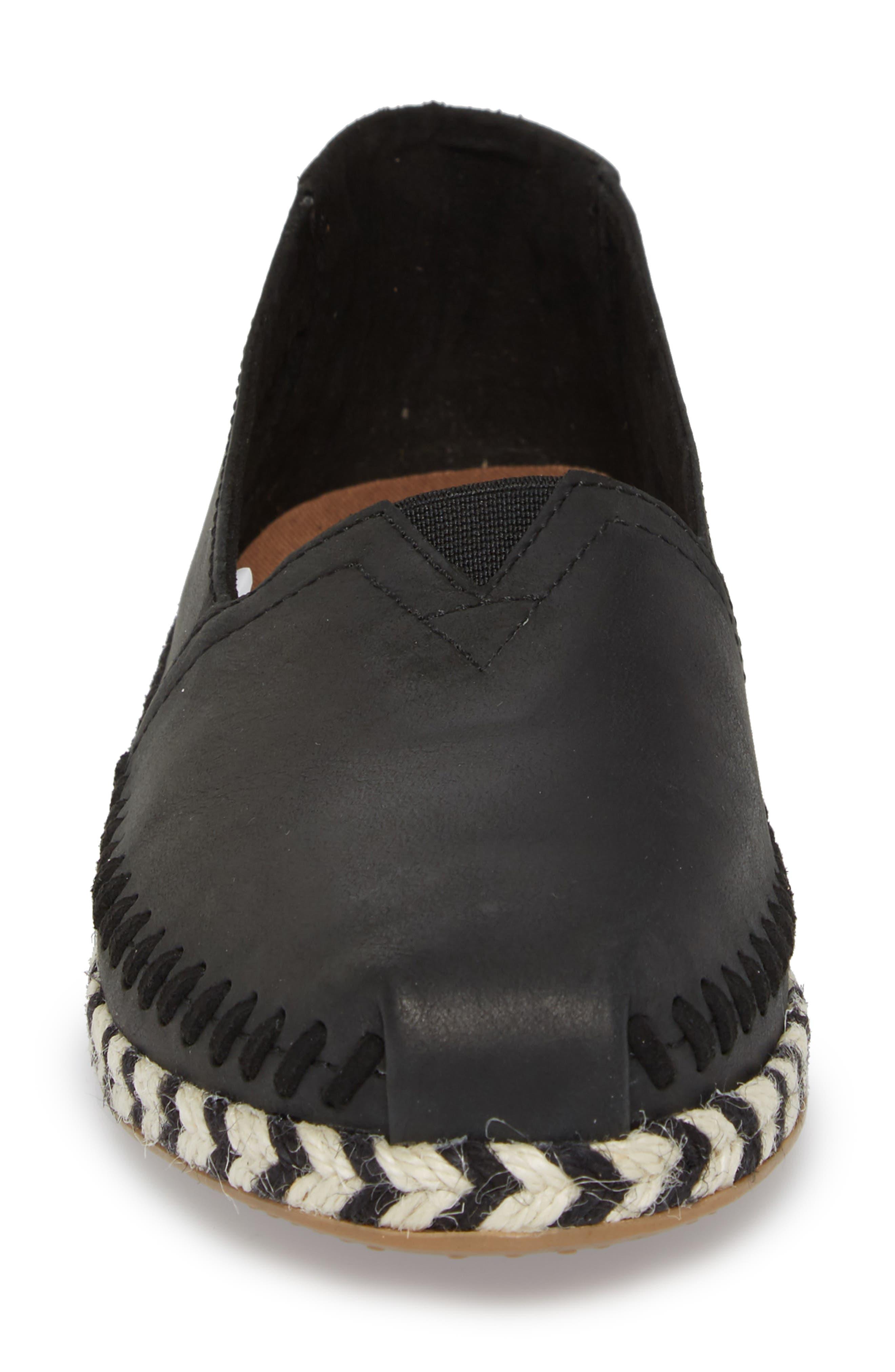 Alpargata Slip-On,                             Alternate thumbnail 4, color,                             Black Leather Rope Sole