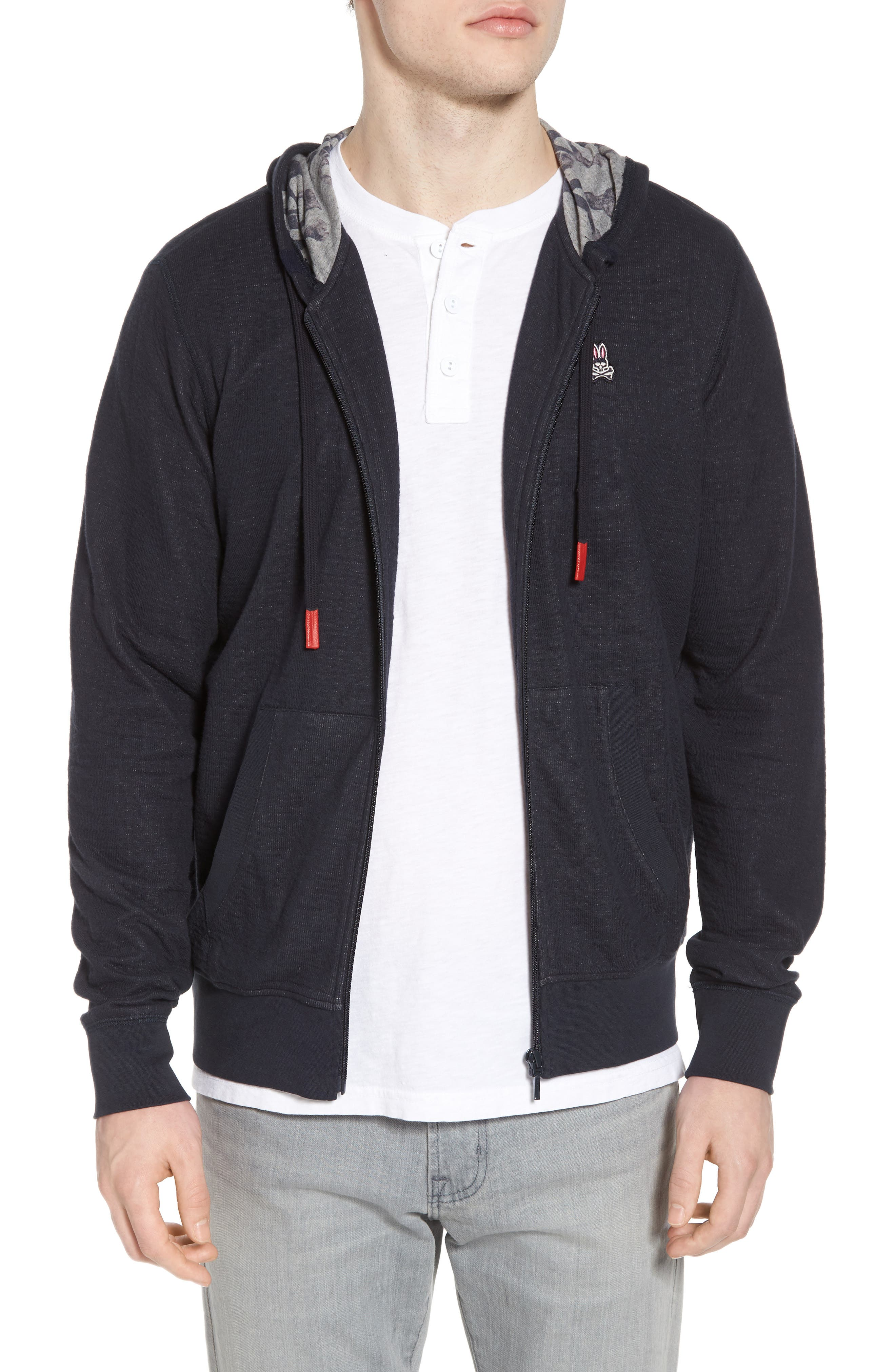 Double Face Hoodie,                         Main,                         color, Navy