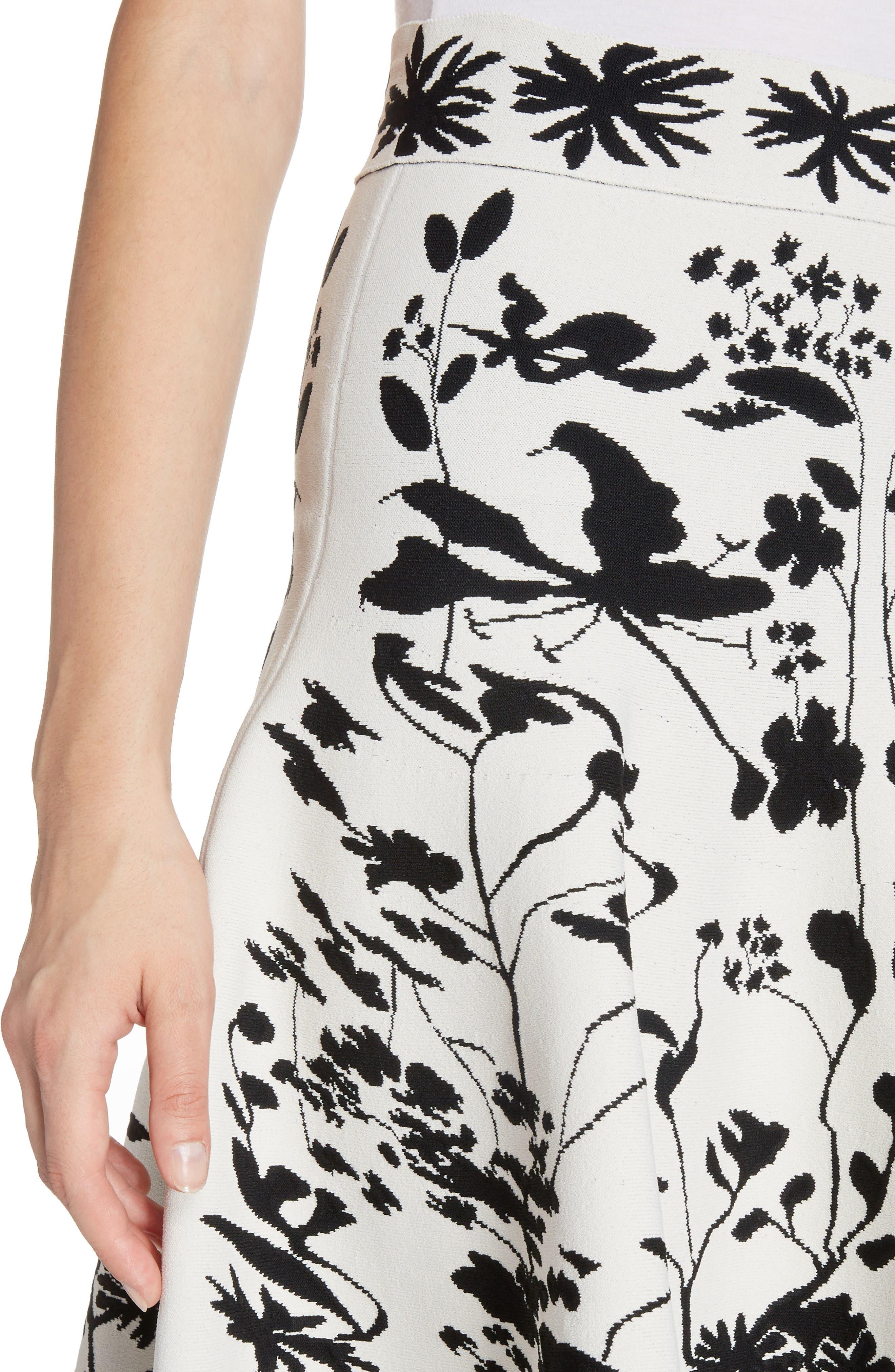 Botanical Jacquard Knit Flounce Skirt,                             Alternate thumbnail 4, color,                             Ivory/ Black