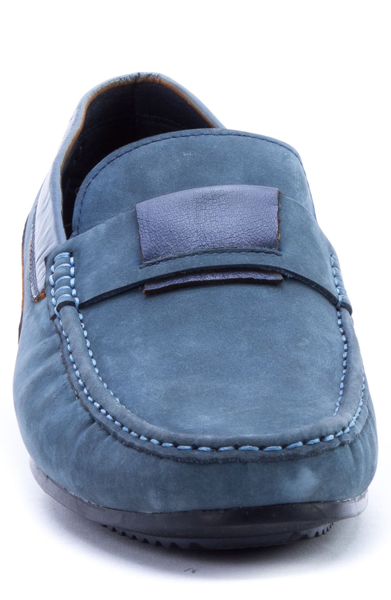 Seurat Driving Loafer,                             Alternate thumbnail 4, color,                             Blue Suede/ Leather
