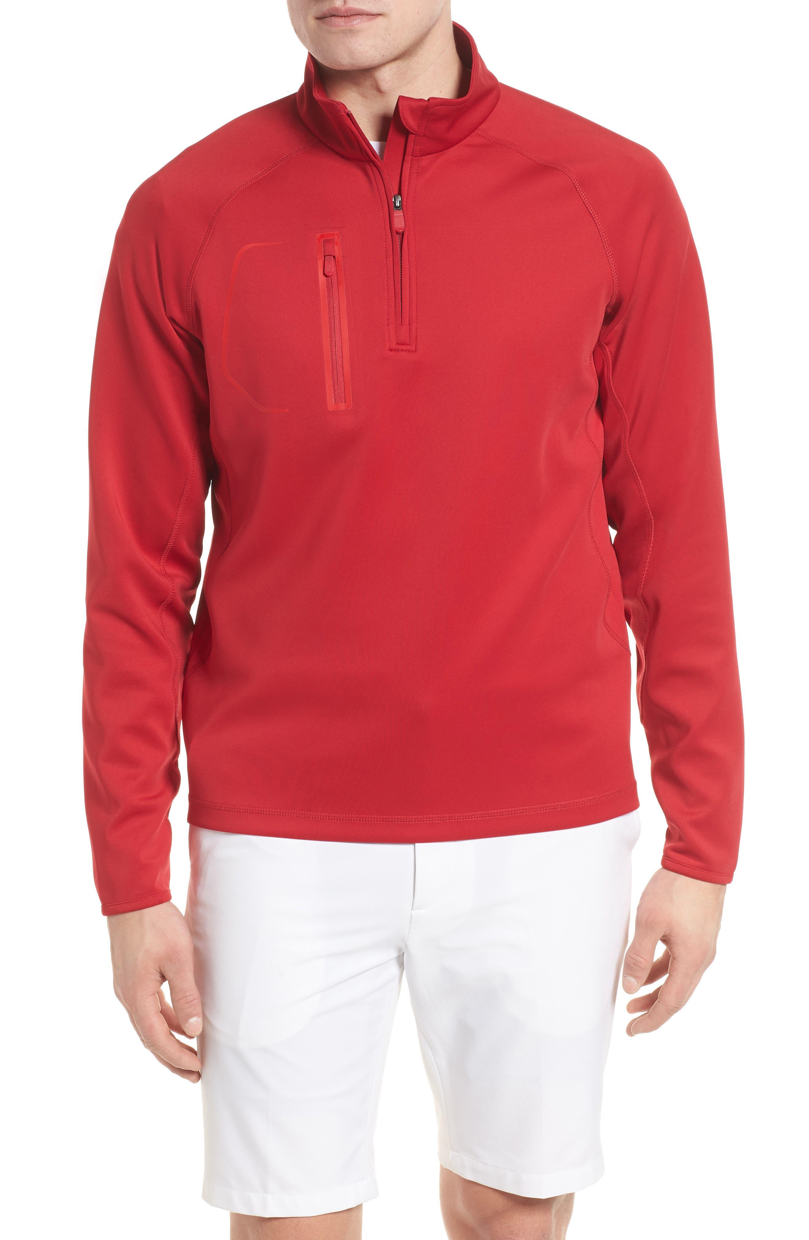 XH2O Crawford Stretch Quarter Zip Golf Pullover,                         Main,                         color, Cambridge Red
