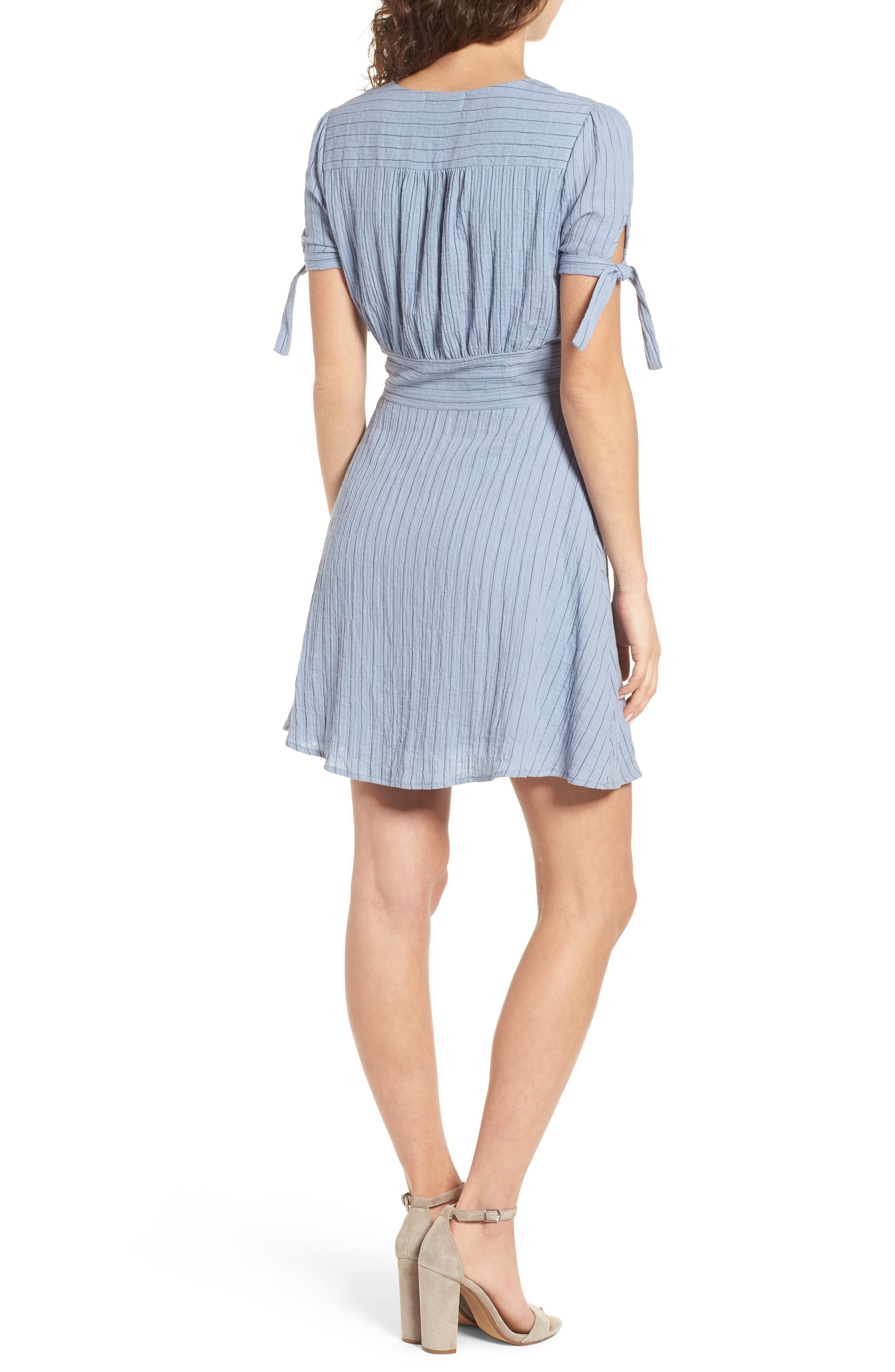 Sky Stripe Tie Sleeve Dress,                             Alternate thumbnail 3, color,                             Blue
