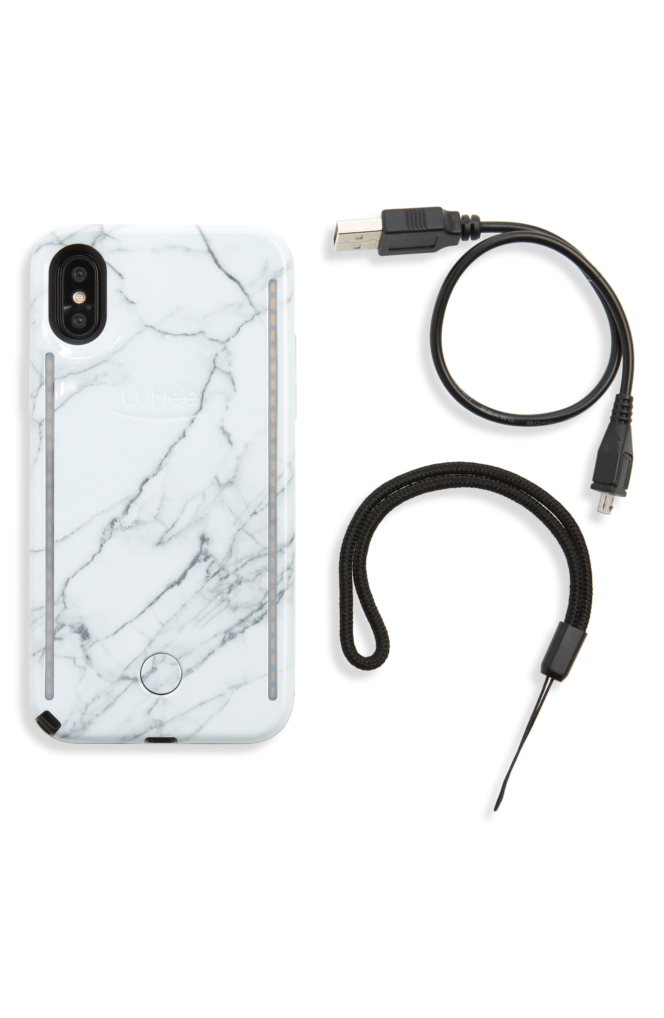 Duo LED Lighted iPhone X Case,                             Alternate thumbnail 2, color,                             White Marble