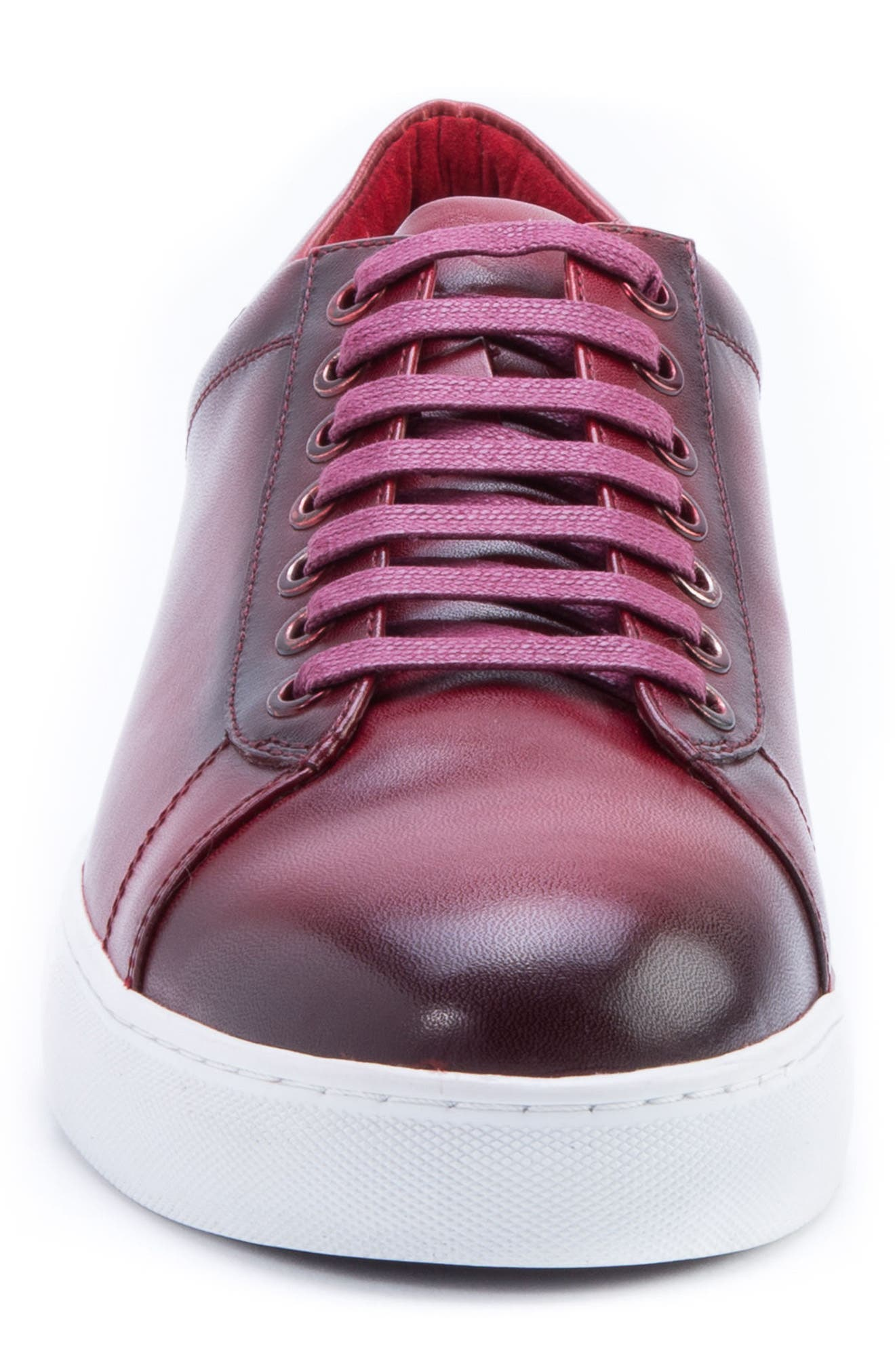 Music Low Top Sneaker,                             Alternate thumbnail 4, color,                             Red Leather