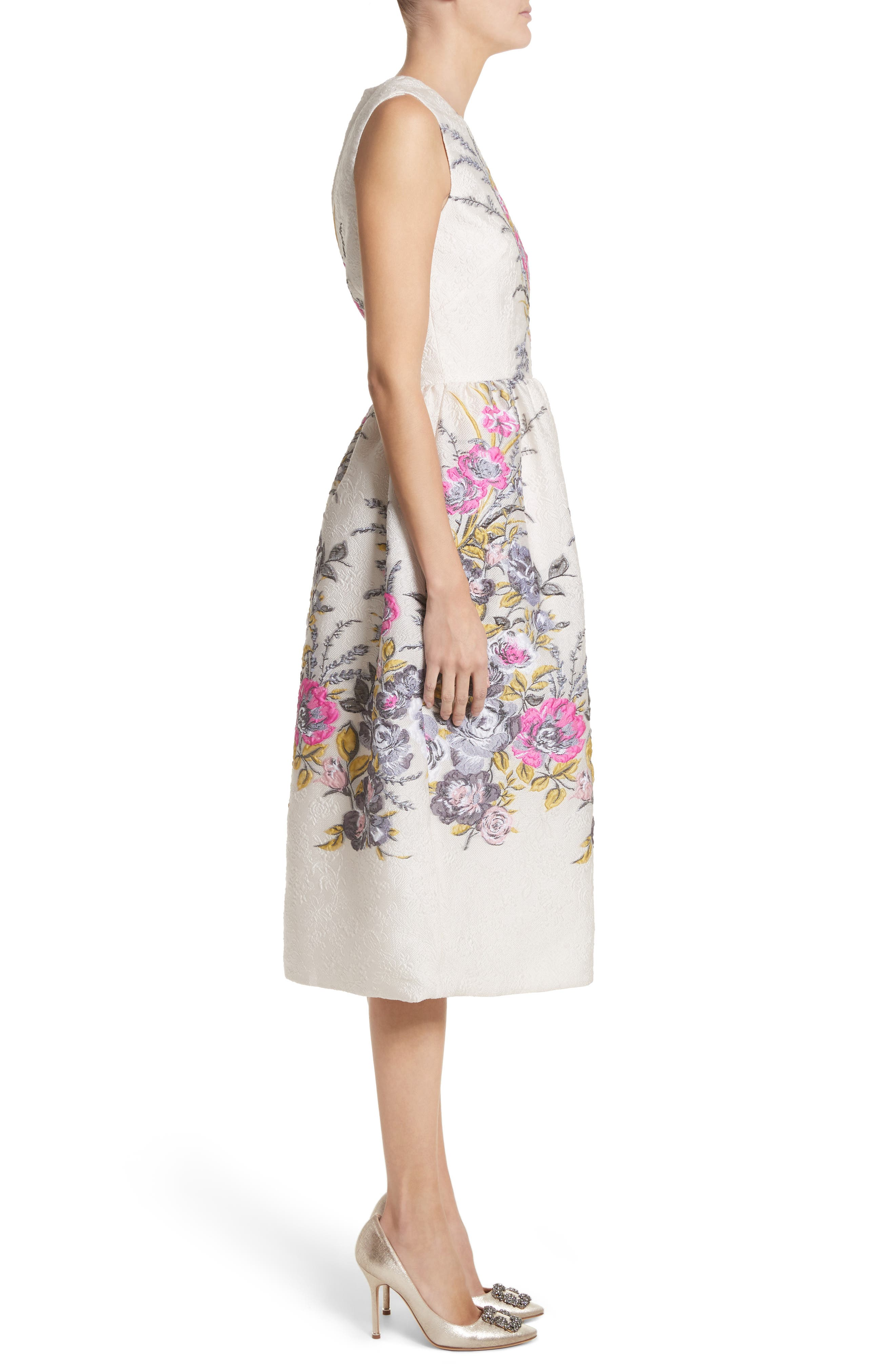 Floral Embroidered Jacquard Dress,                             Alternate thumbnail 3, color,                             Off White Fuchsia