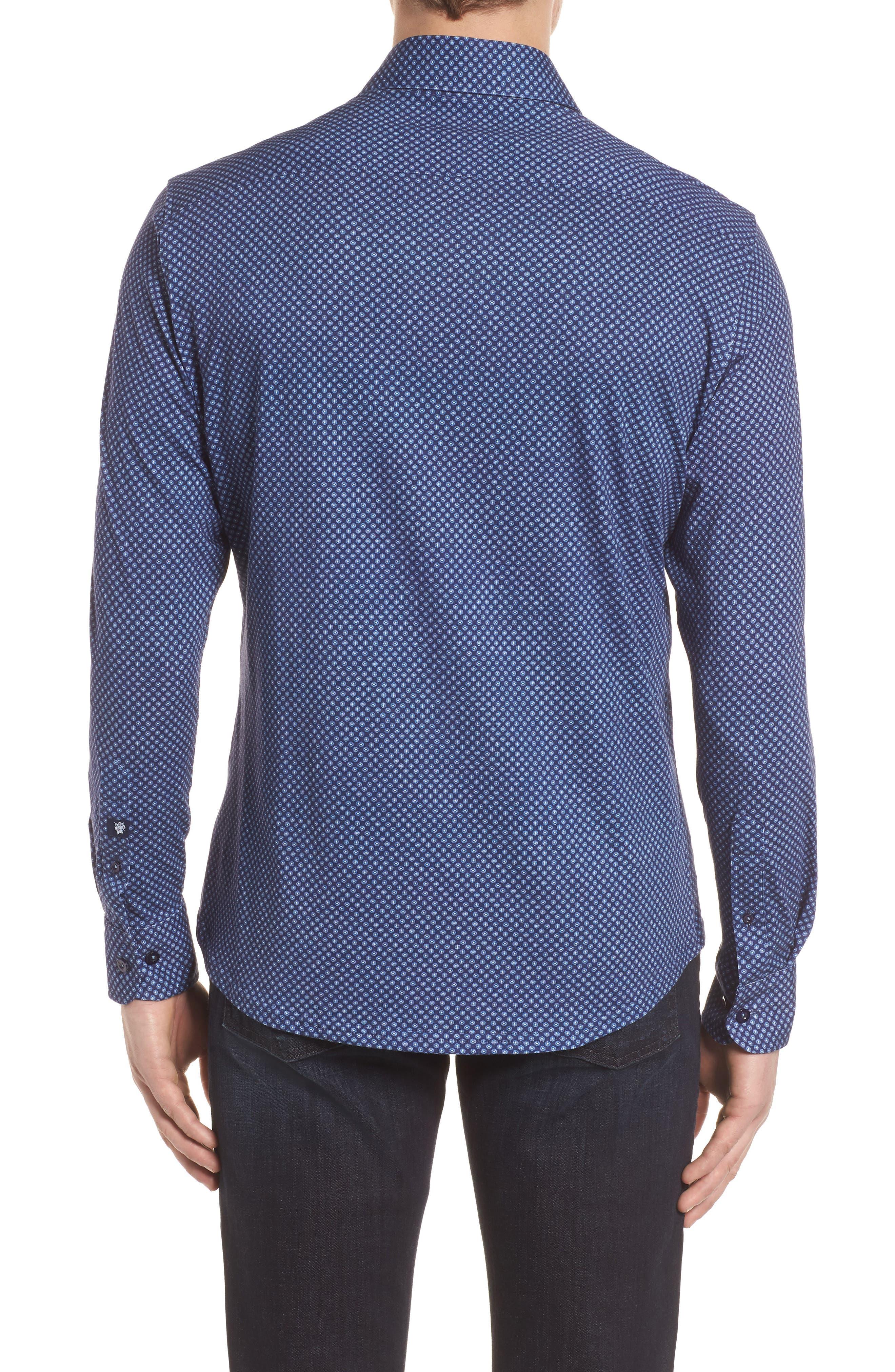 Floral Geo Print Knit Sport Shirt,                             Alternate thumbnail 2, color,                             Navy