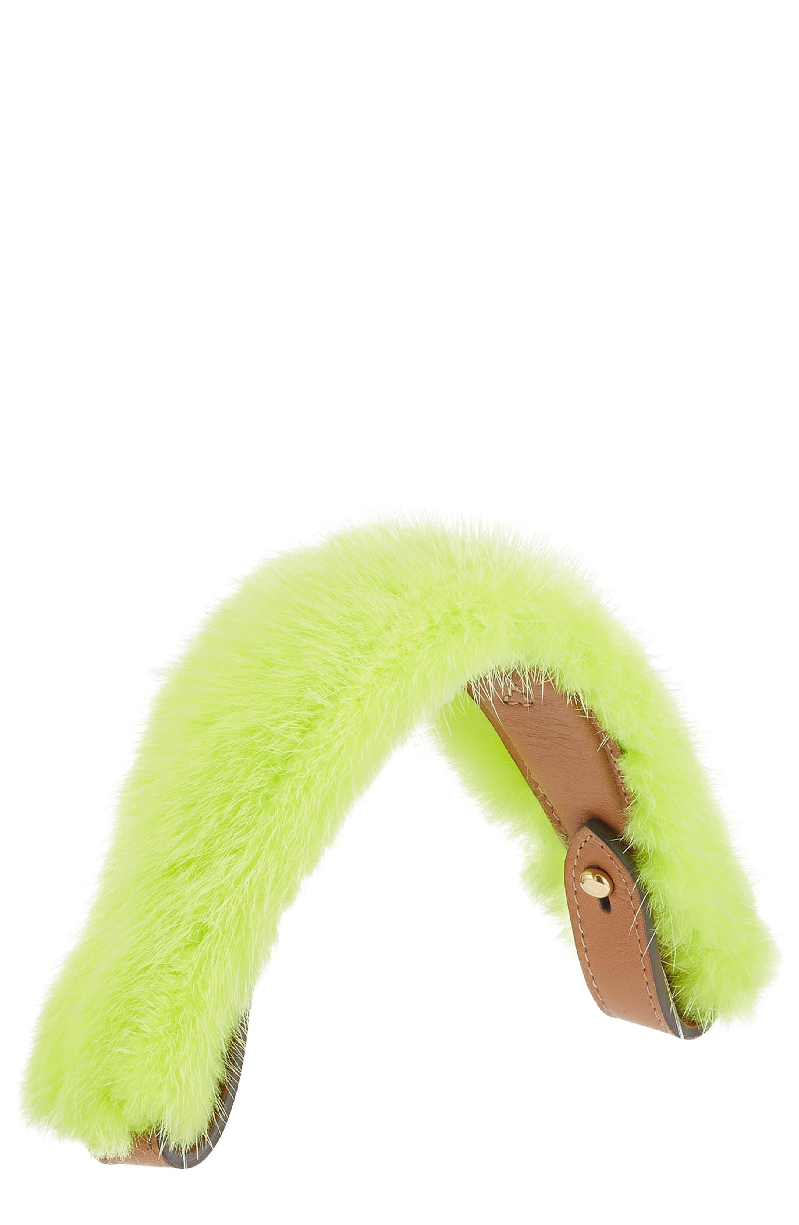 Build a Bag Genuine Mink Fur & Leather Handle,                             Main thumbnail 1, color,                             Lime