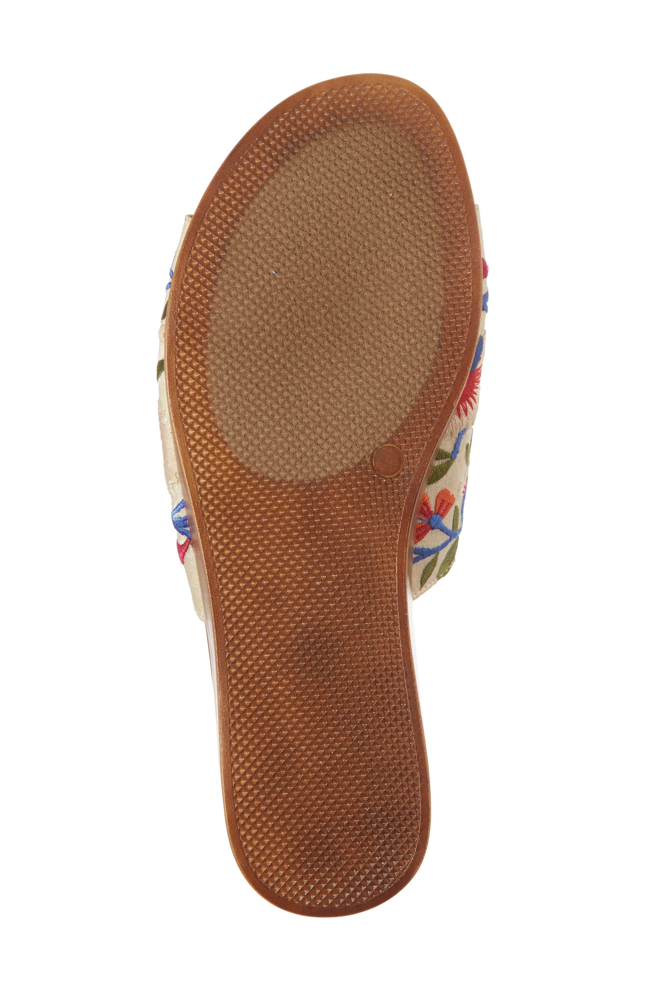 Abi Slide Sandal,                             Alternate thumbnail 6, color,                             Beige Embroidered Fabric