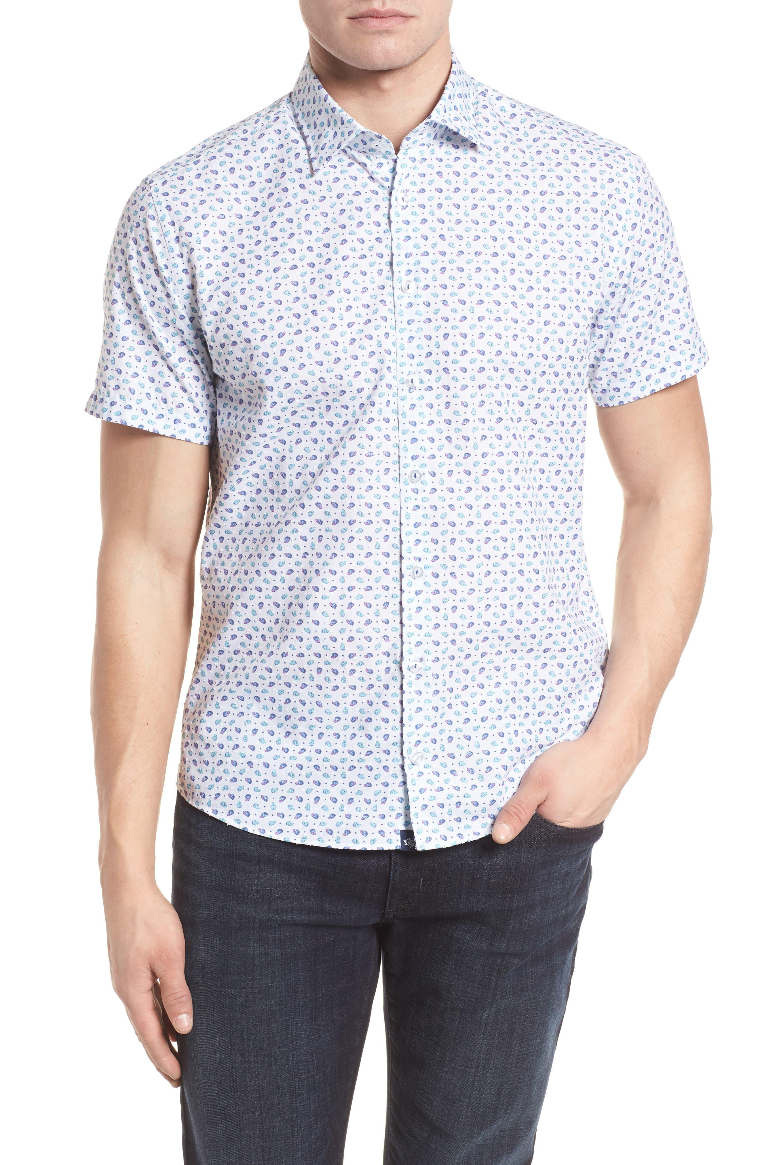 Contemporary Fit Cap Print Sport Shirt,                         Main,                         color, White