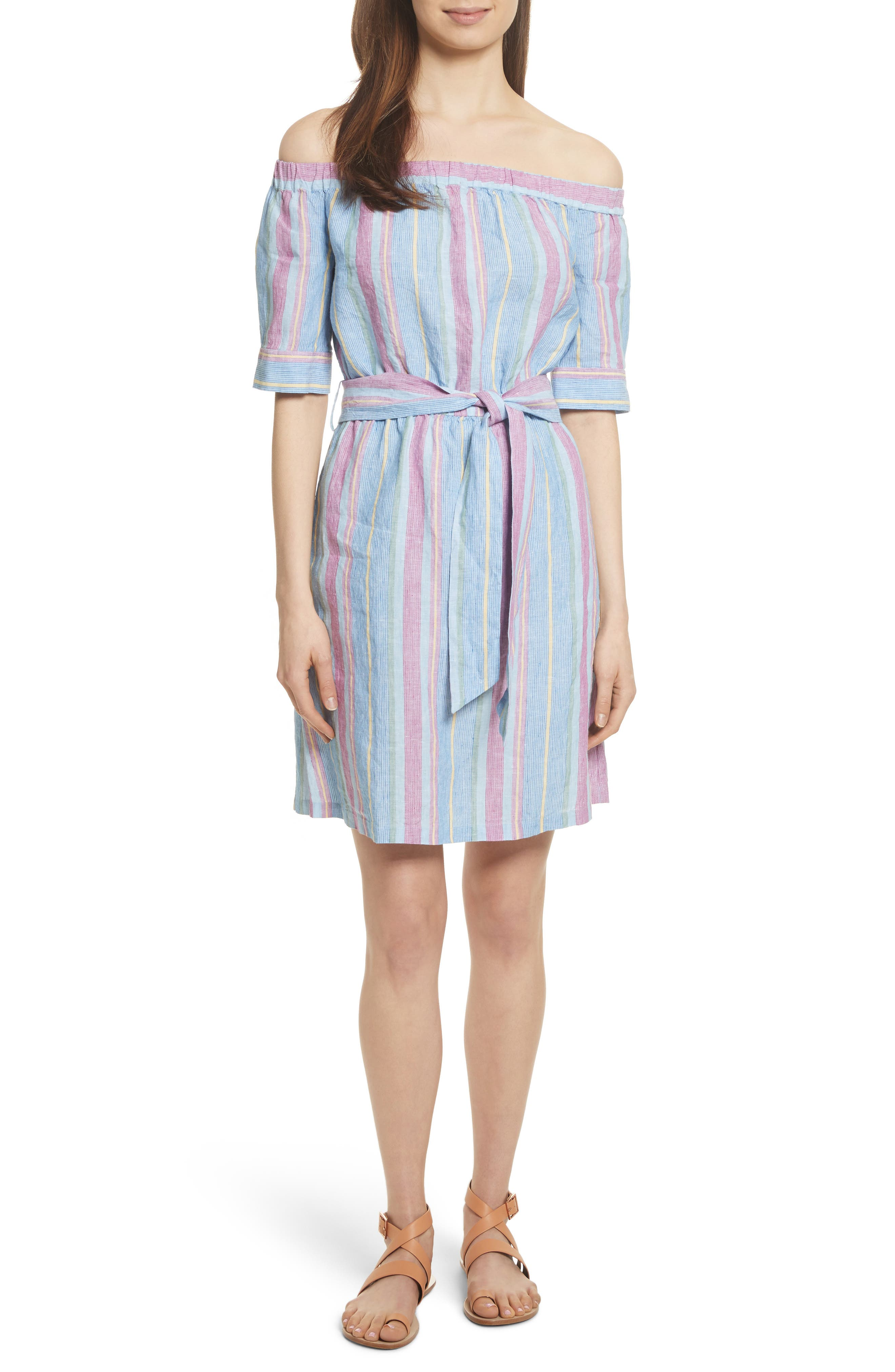 Stripe Off the Shoulder Linen Dress,                             Main thumbnail 1, color,                             Purple Multi