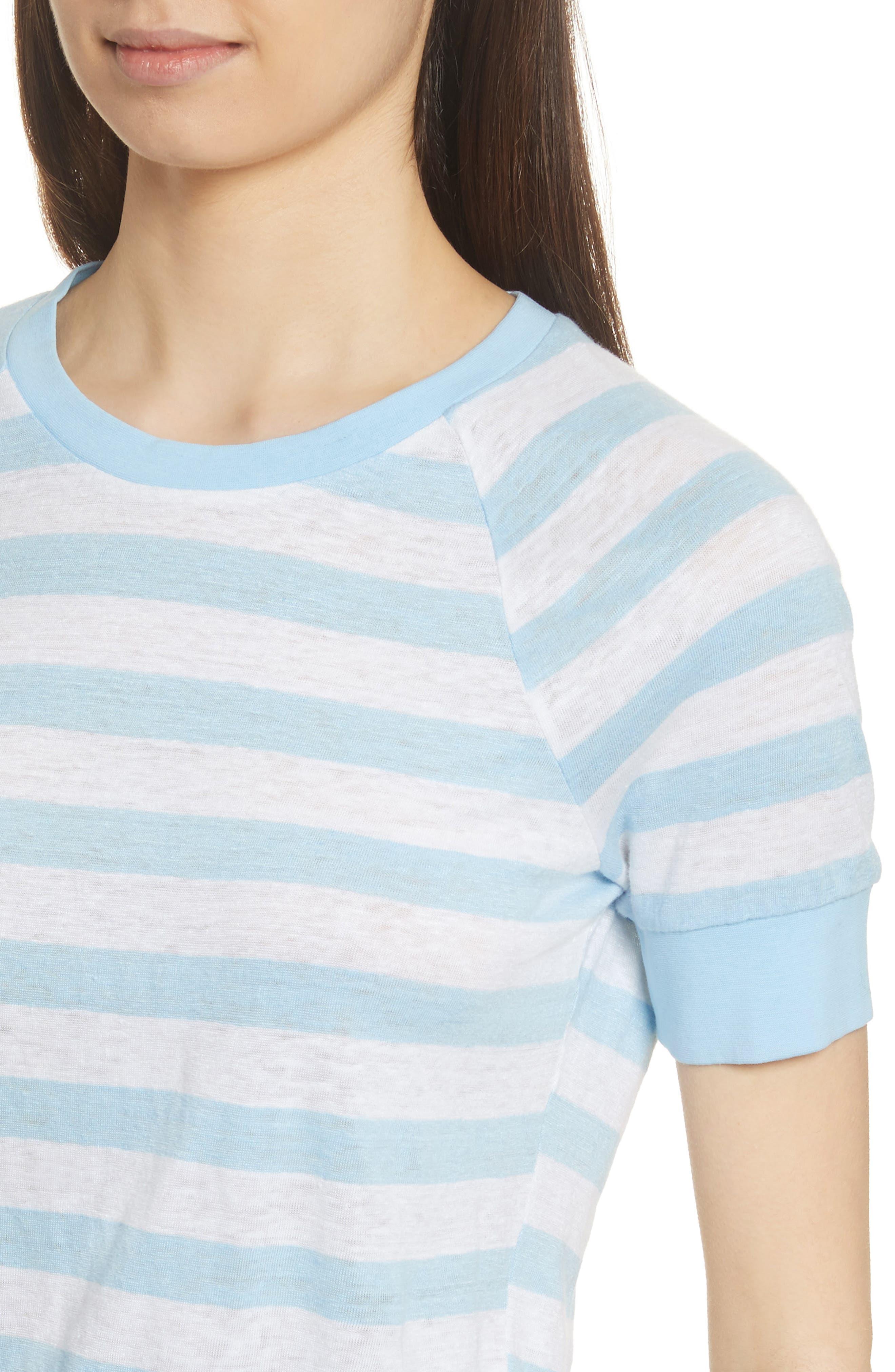 Stripe Raglan Linen Tee,                             Alternate thumbnail 4, color,                             Blanc Multi
