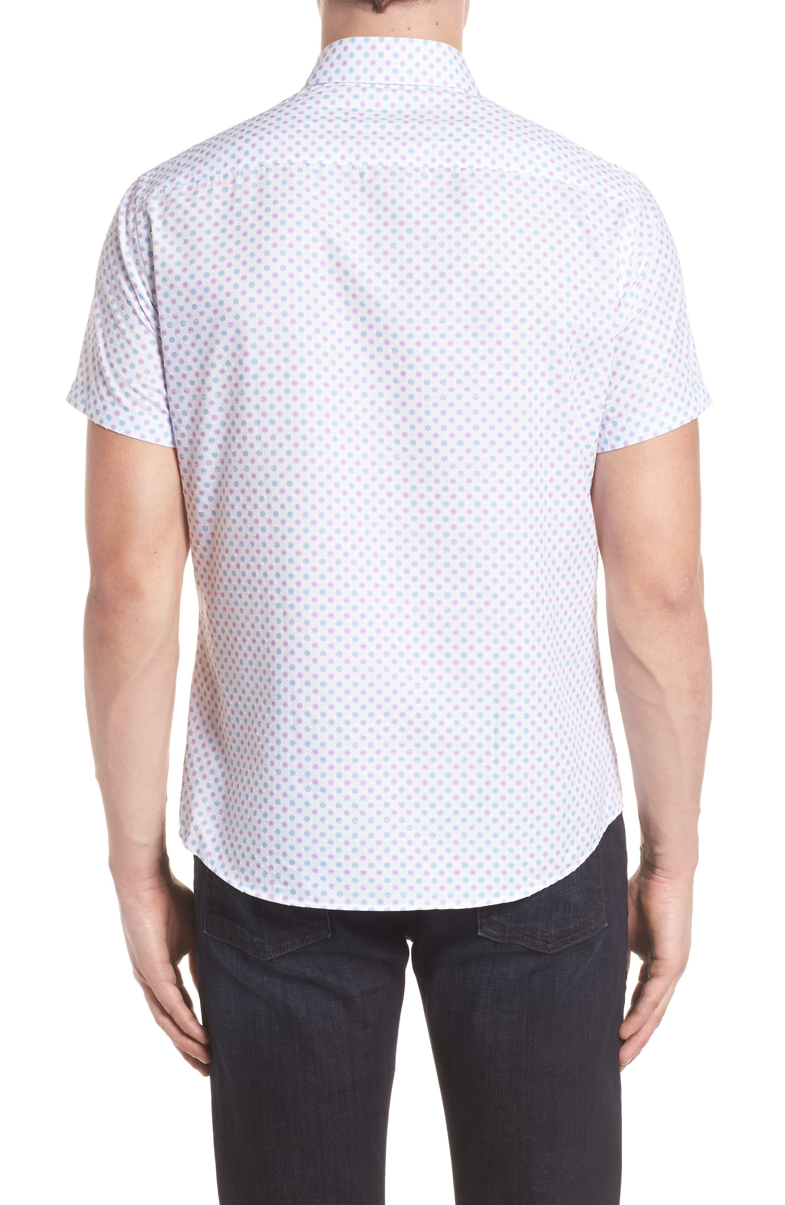 Contemporary Fit Umbrella Print Sport Shirt,                             Alternate thumbnail 2, color,                             White