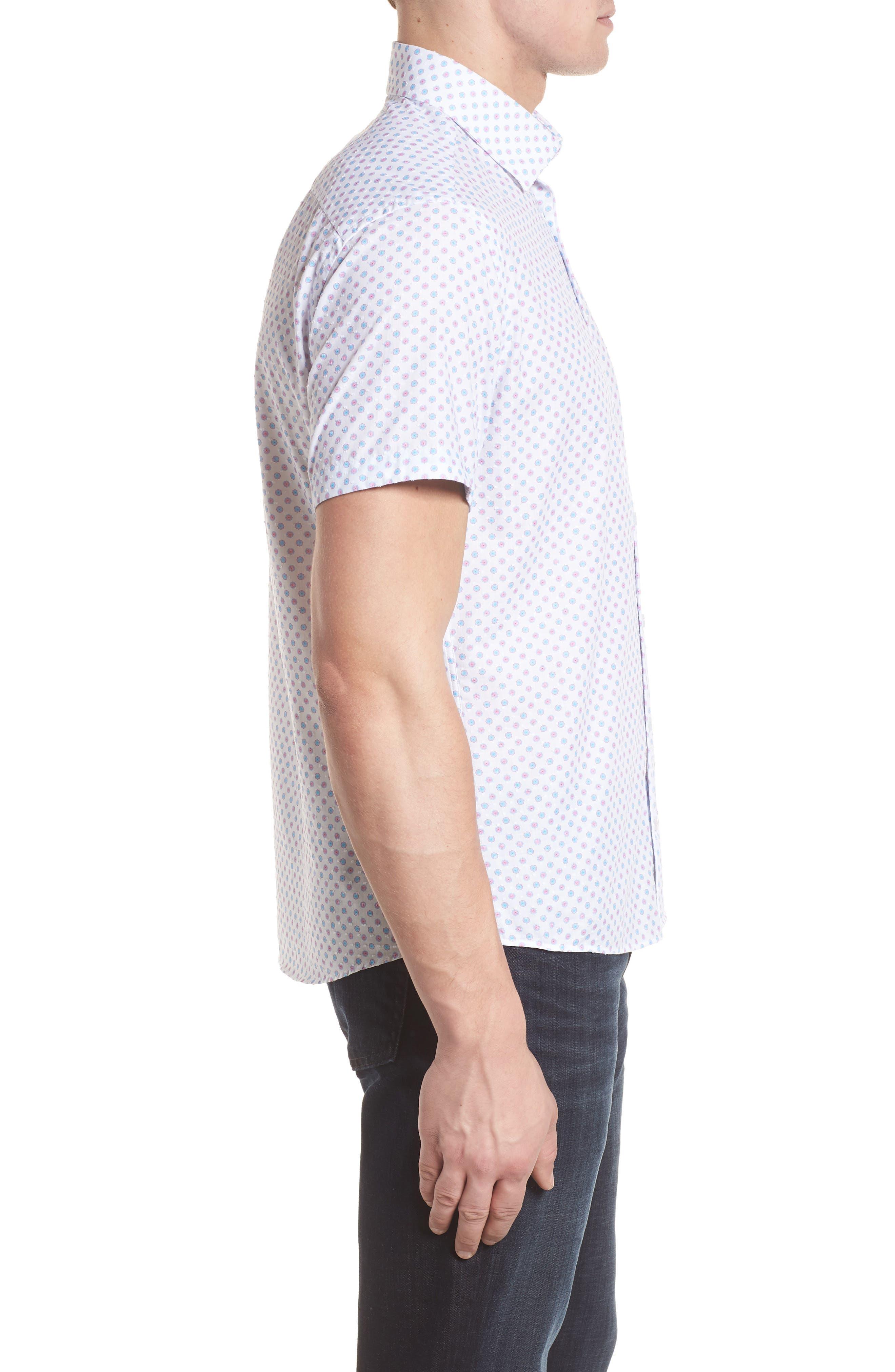 Contemporary Fit Umbrella Print Sport Shirt,                             Alternate thumbnail 3, color,                             White