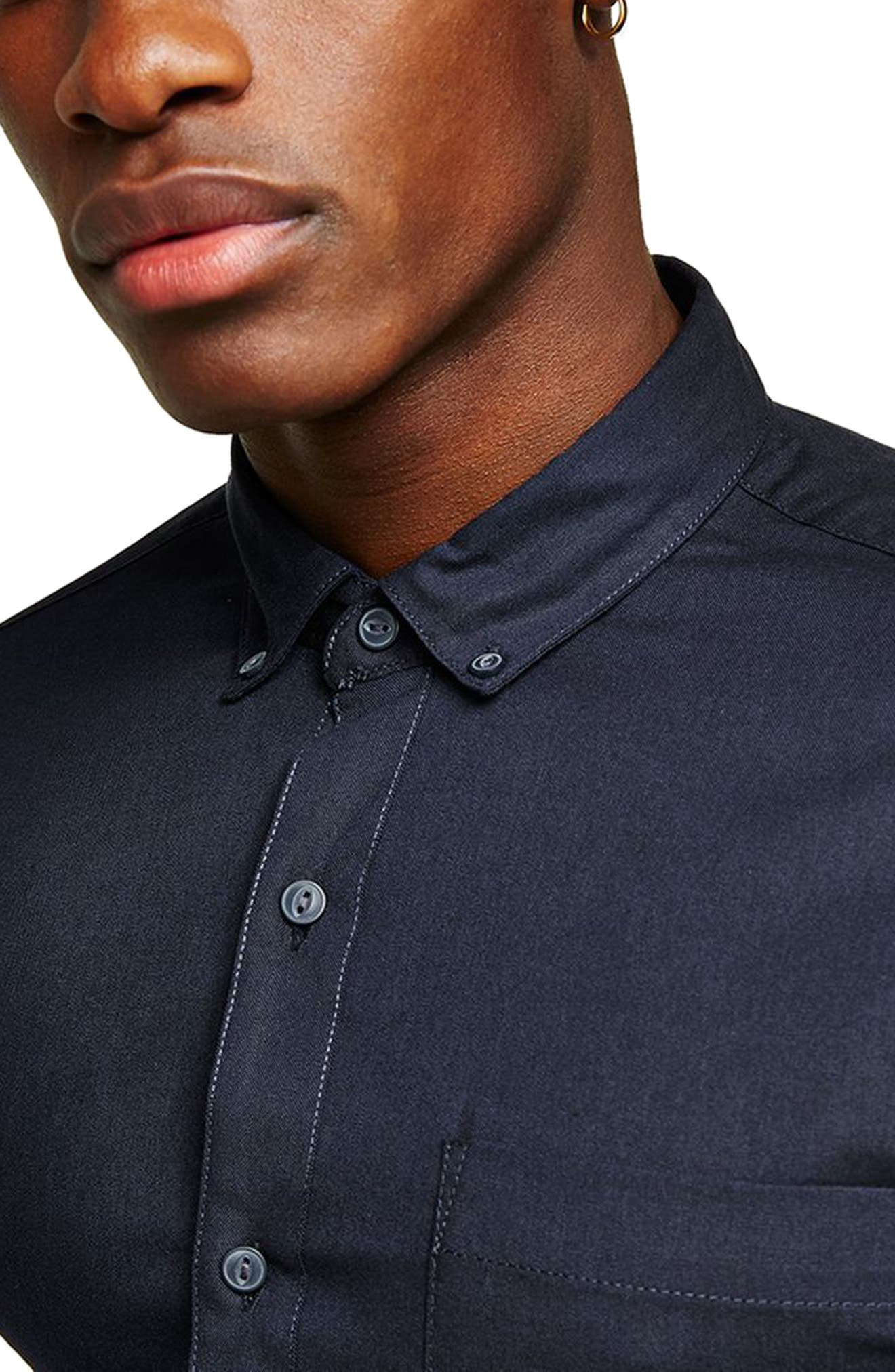 Oxford Shirt,                             Alternate thumbnail 3, color,                             Navy Blue