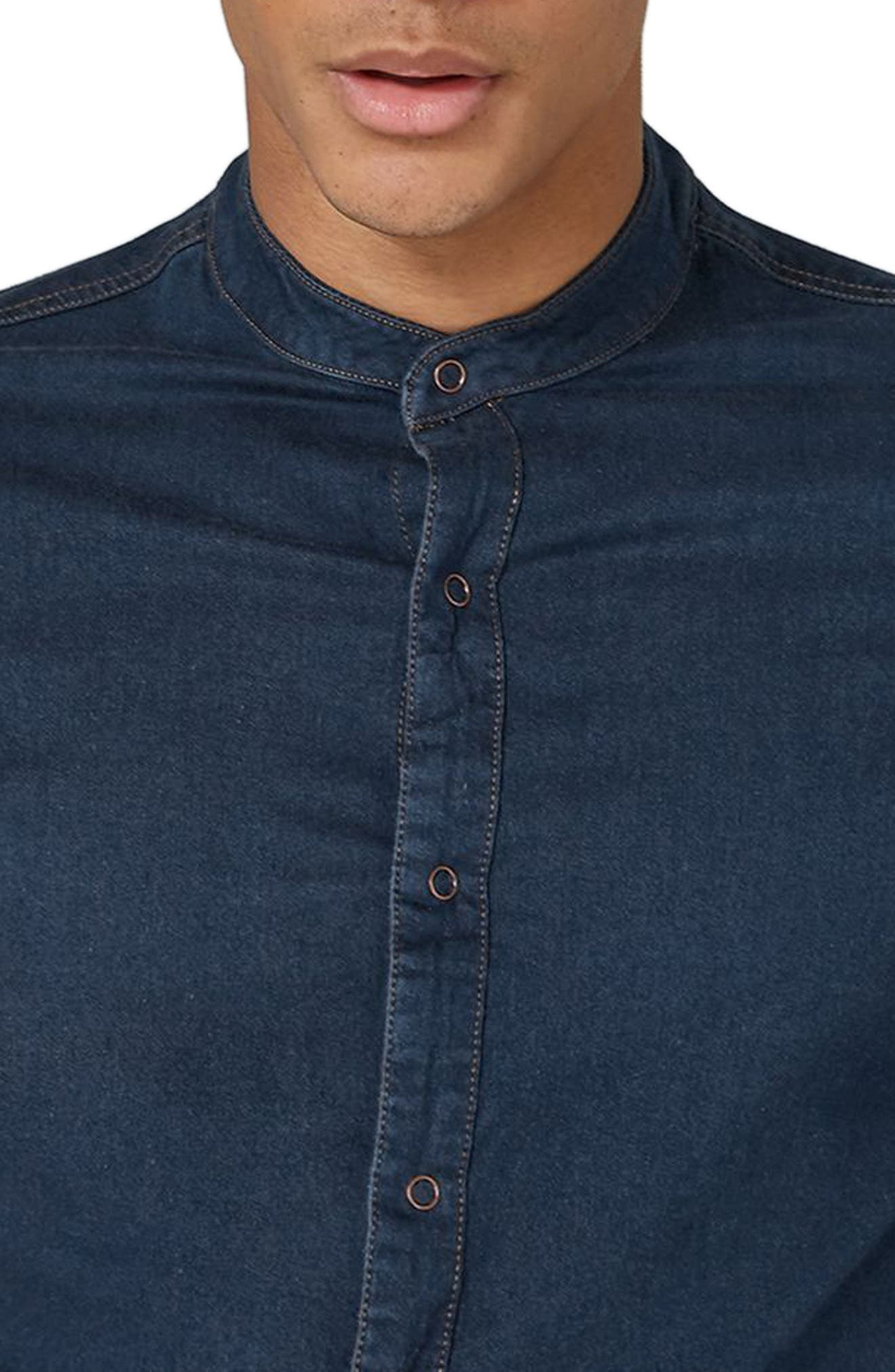 Band Collar Denim Shirt,                             Alternate thumbnail 4, color,                             Blue