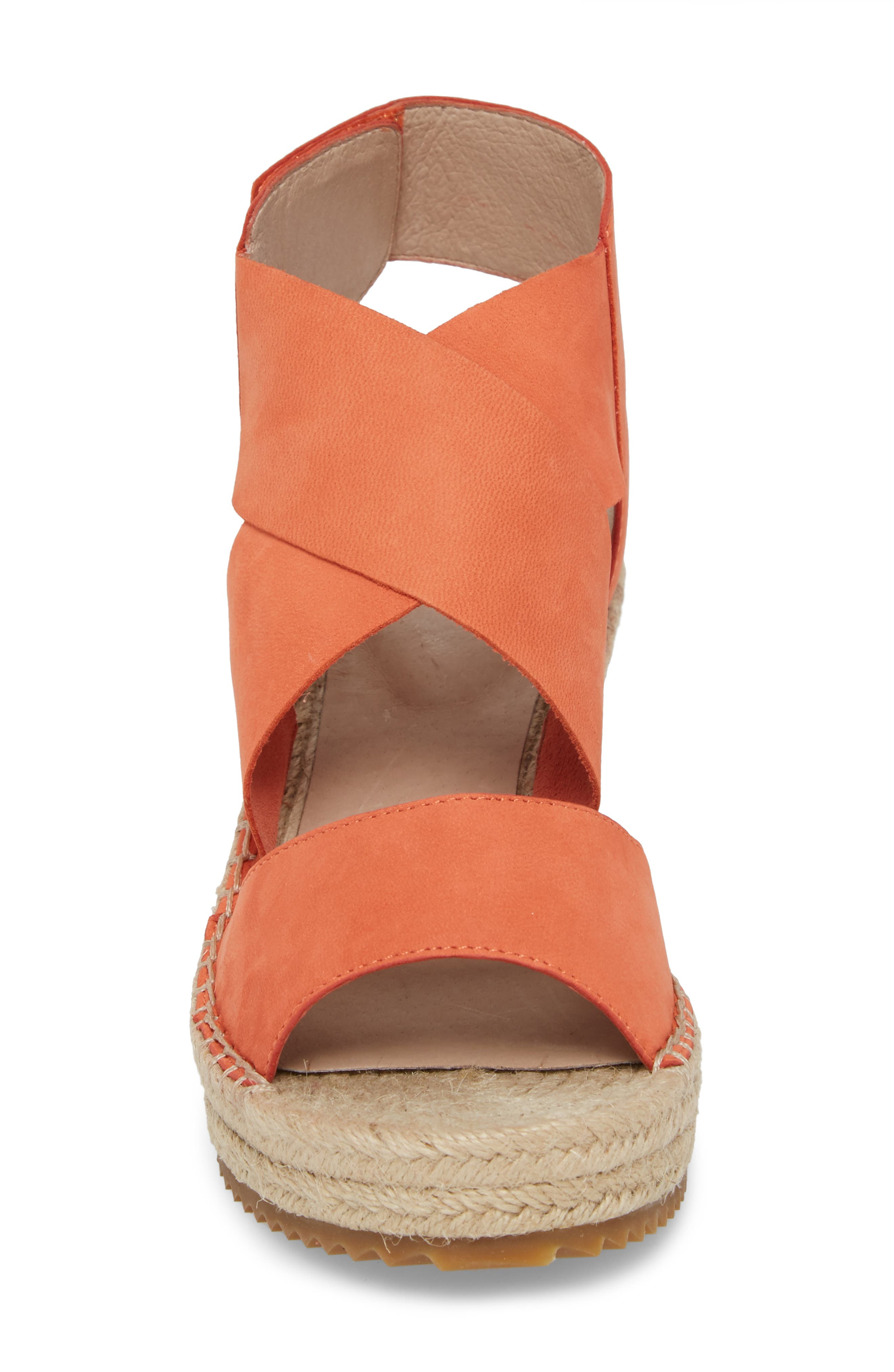 'Willow' Espadrille Wedge Sandal,                             Alternate thumbnail 4, color,                             Persimmon Leather
