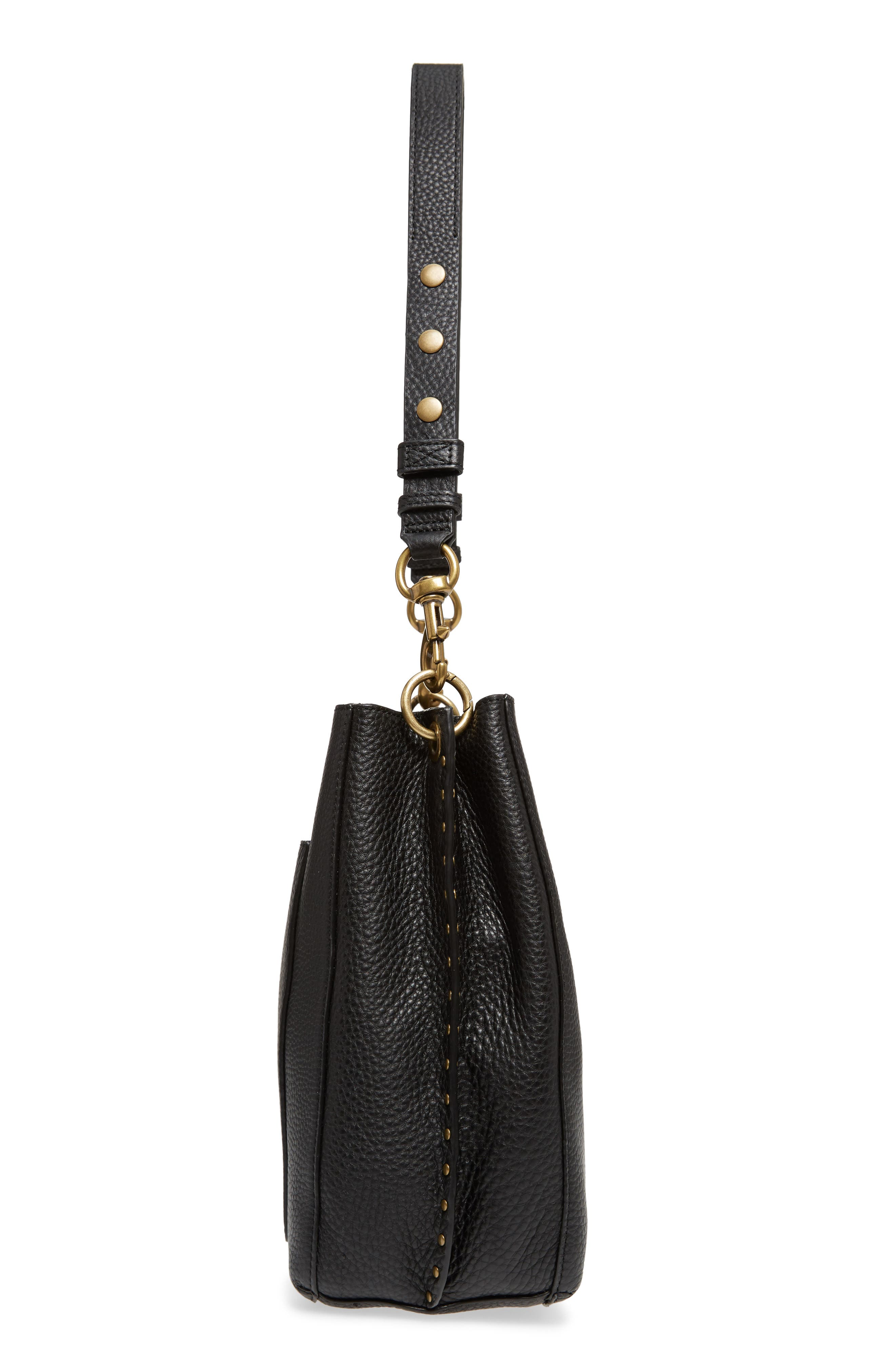 Darren Deerskin Leather Shoulder Bag,                             Alternate thumbnail 5, color,                             Black