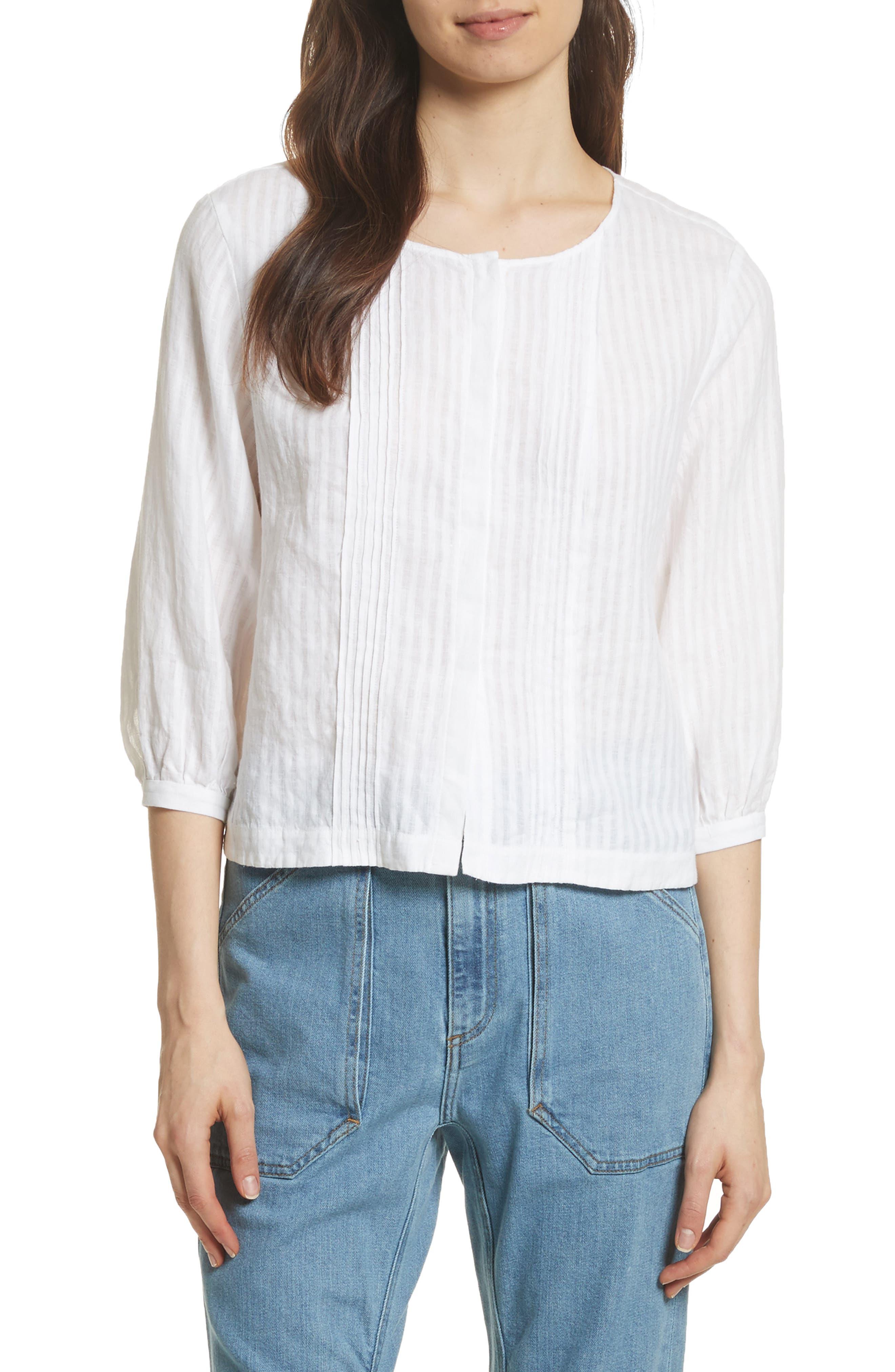 Pintucked Linen Top,                         Main,                         color, Blanc