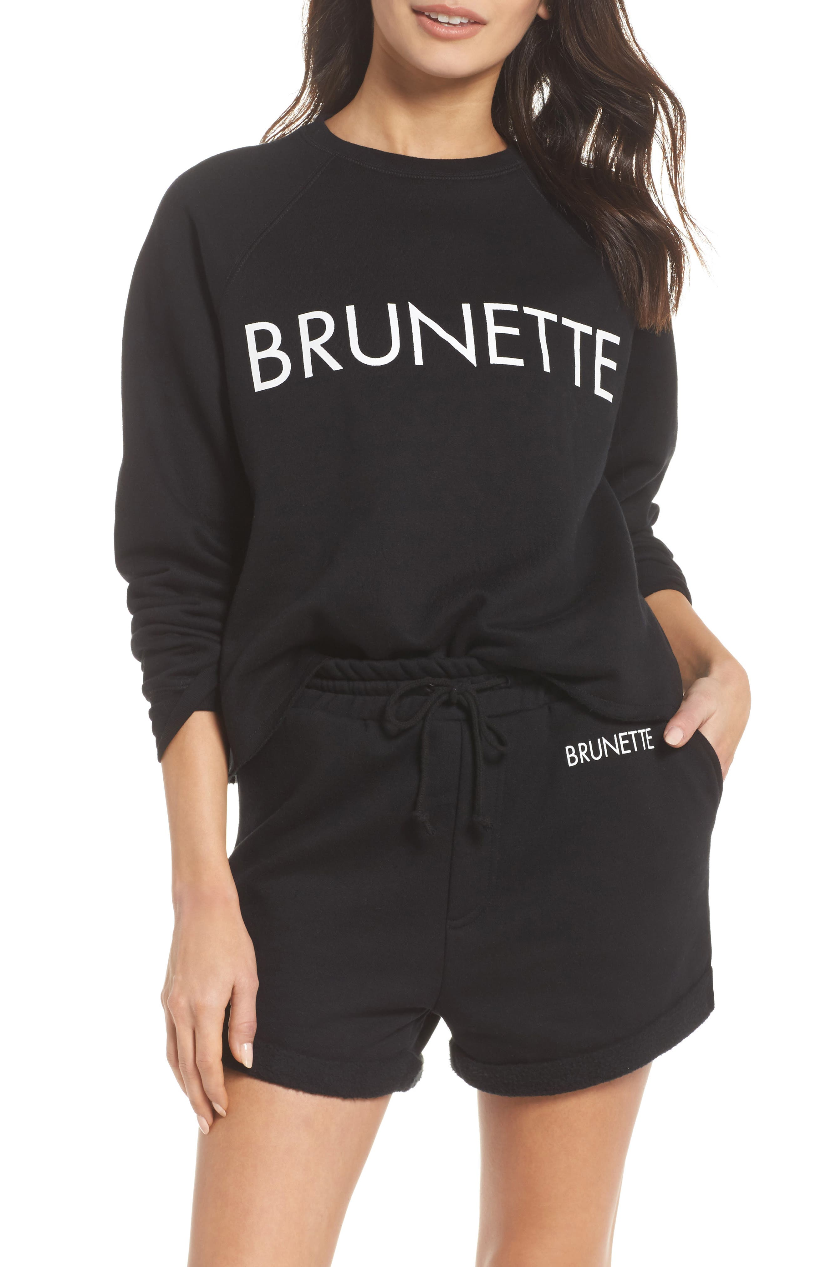 Brunette Raw Hem Sweatshirt,                             Main thumbnail 1, color,                             Black