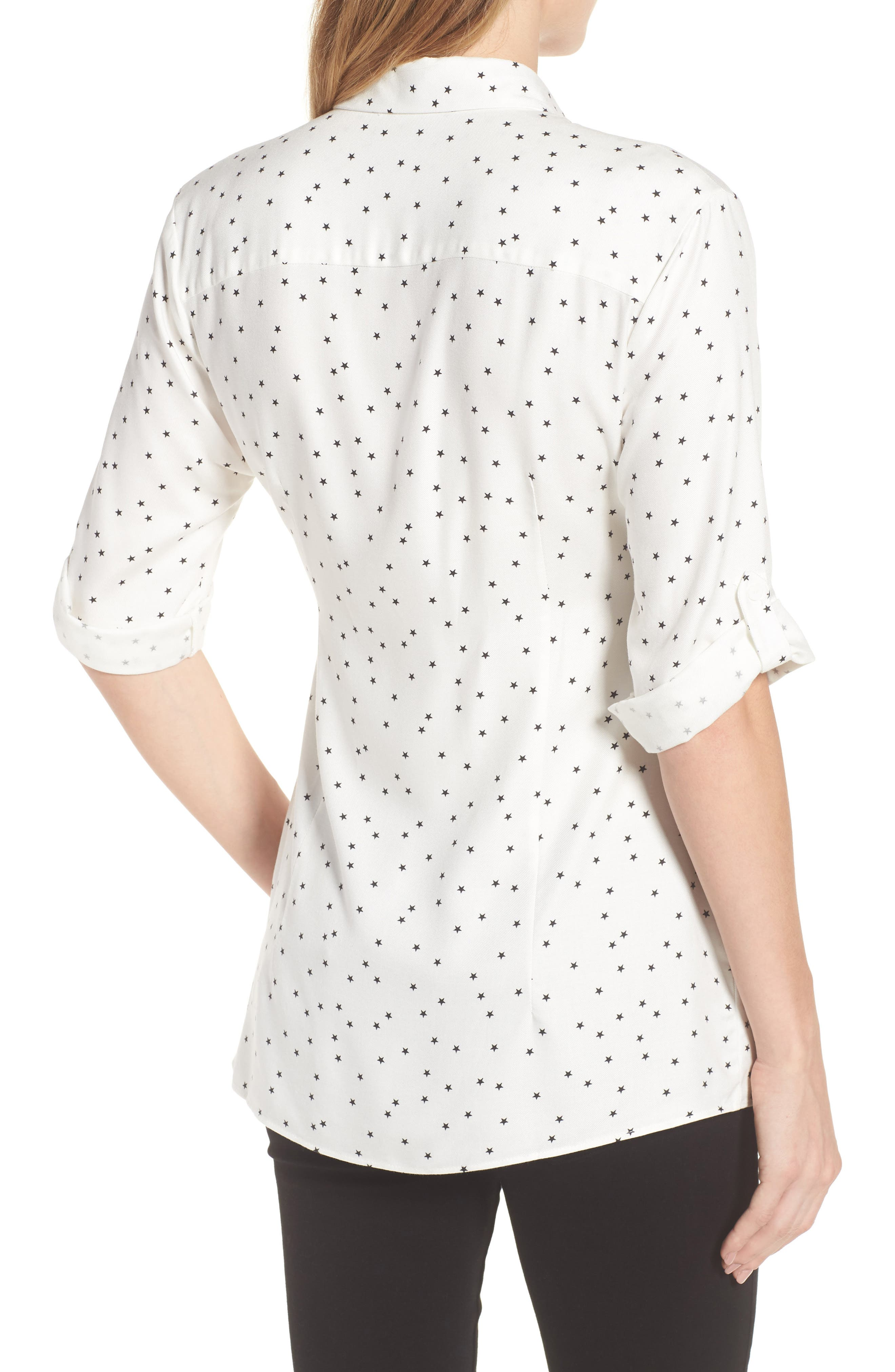 Selina Maternity Shirt,                             Alternate thumbnail 2, color,                             Off White Star Print