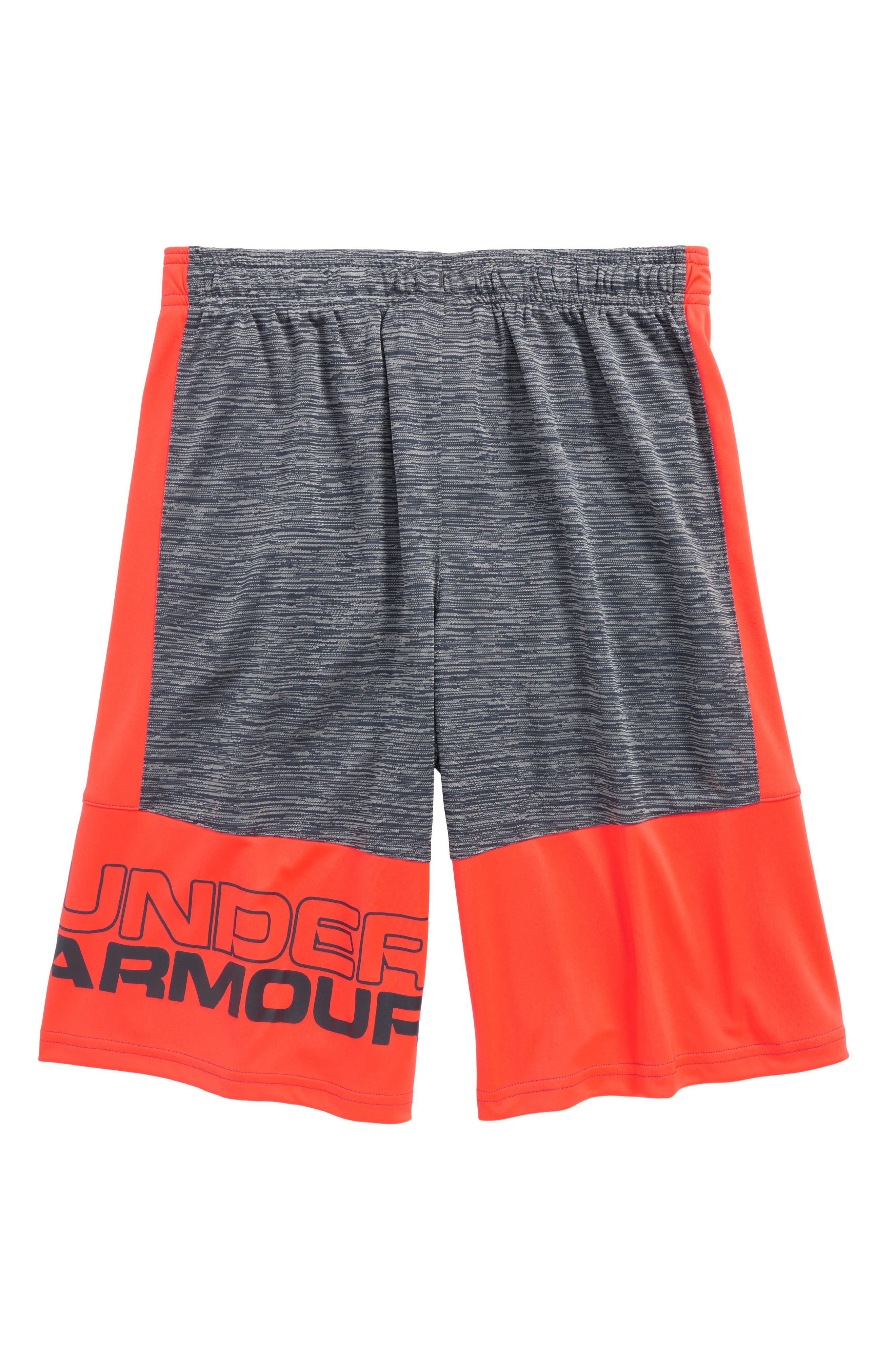 Stunt HeatGear<sup>®</sup> Shorts,                             Alternate thumbnail 3, color,                             Stealth Gray/ Neon Coral