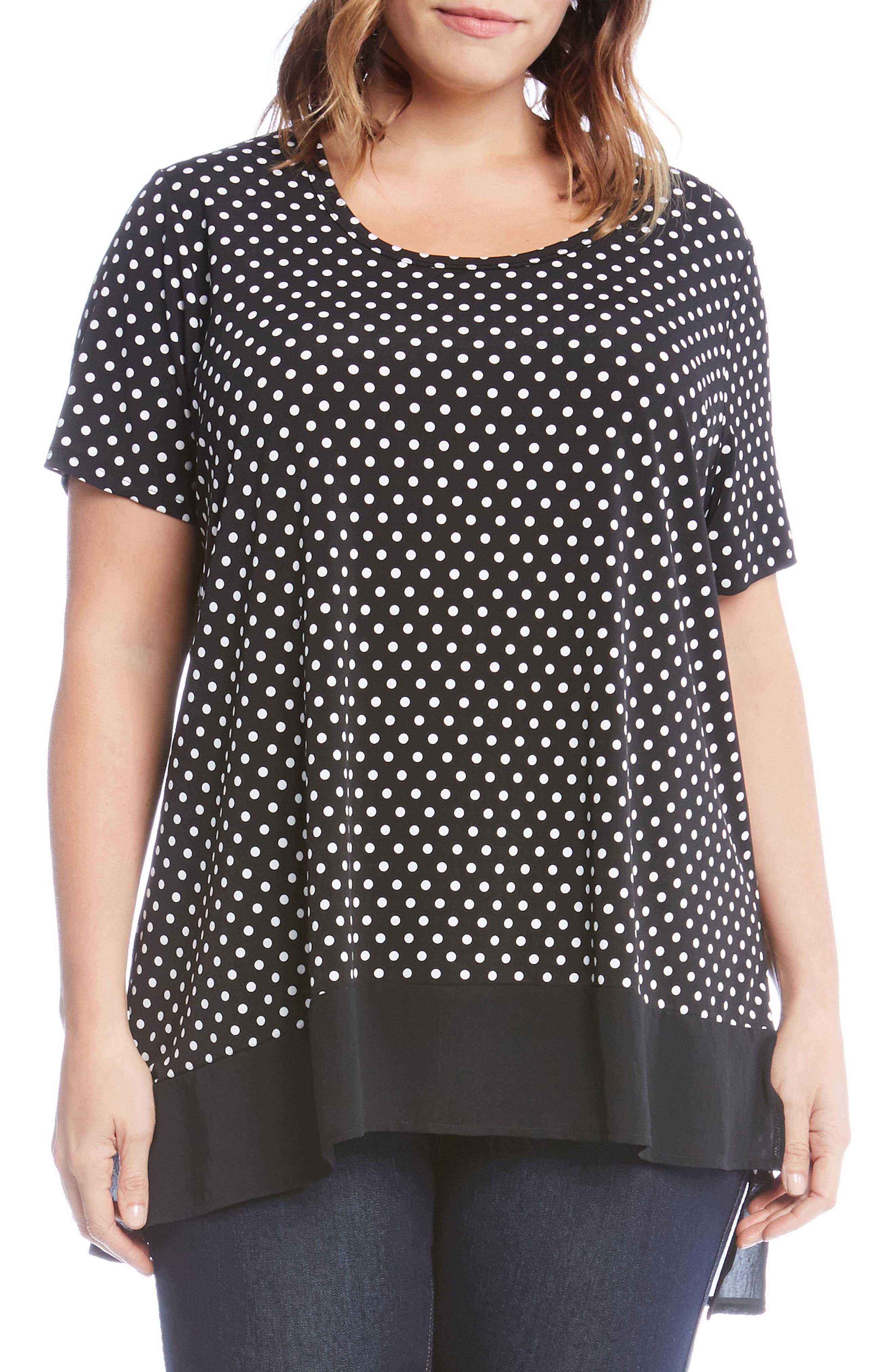 Main Image - Karen Kane Polka Dot Sheer Asymmetrical Hem Top (Plus Size)