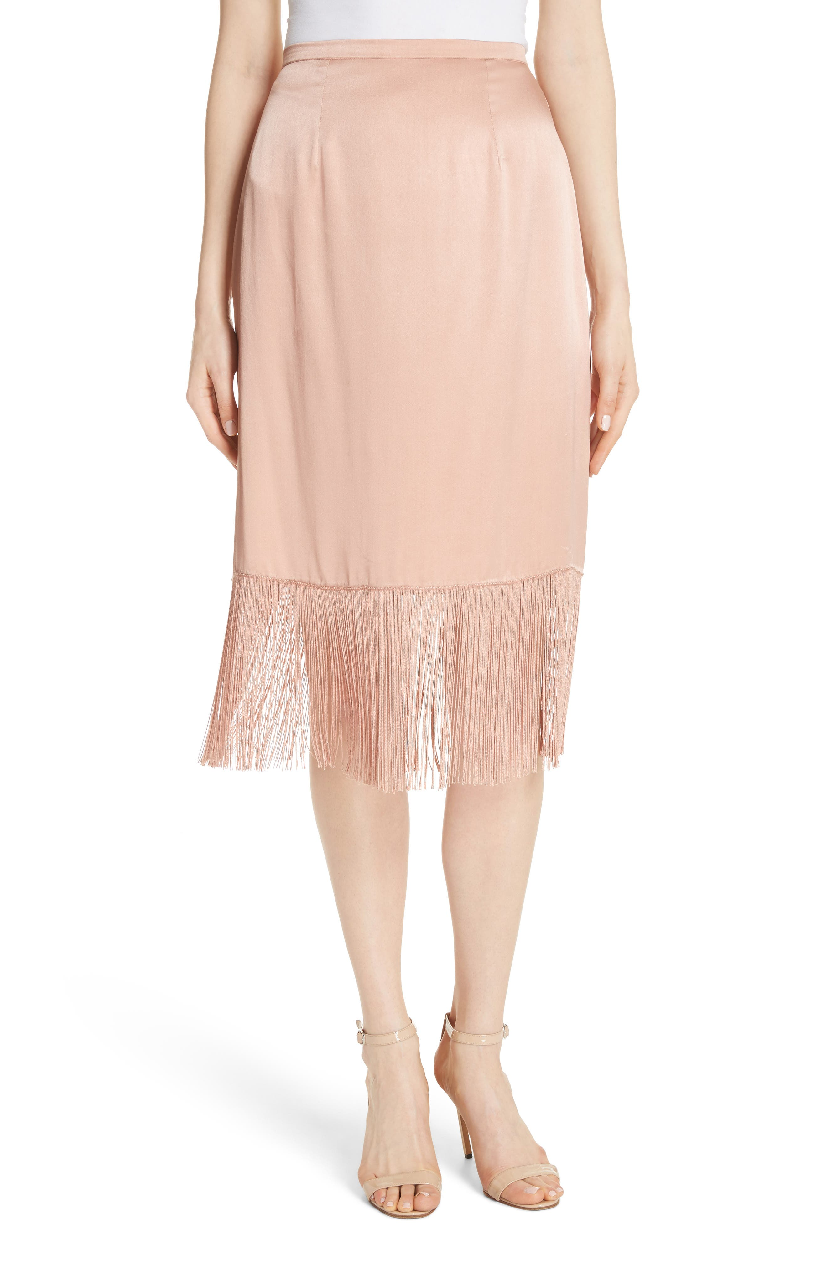 Fringe Silk Skirt,                         Main,                         color, Cosmetic Pink