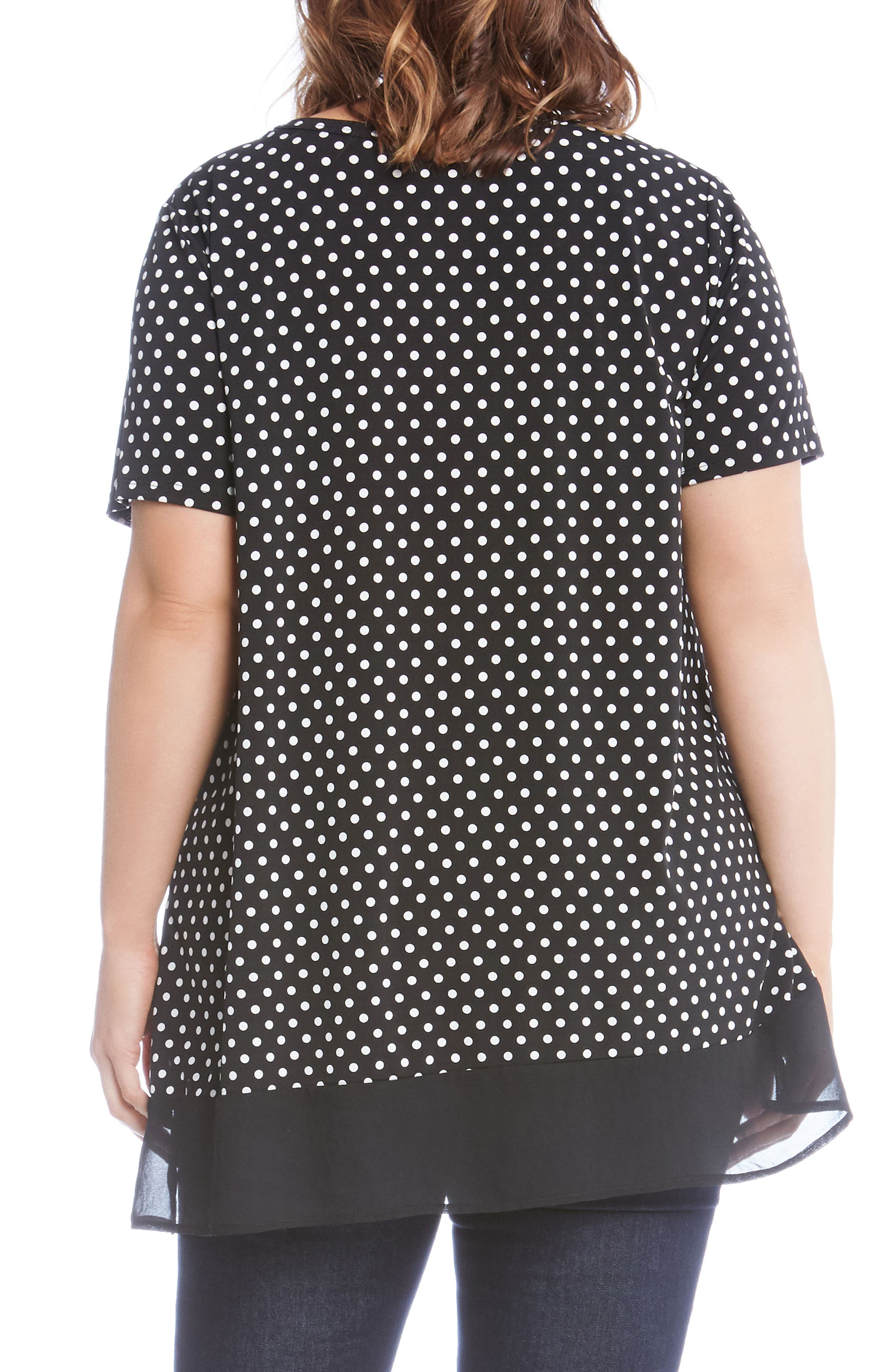 Alternate Image 2  - Karen Kane Polka Dot Sheer Asymmetrical Hem Top (Plus Size)
