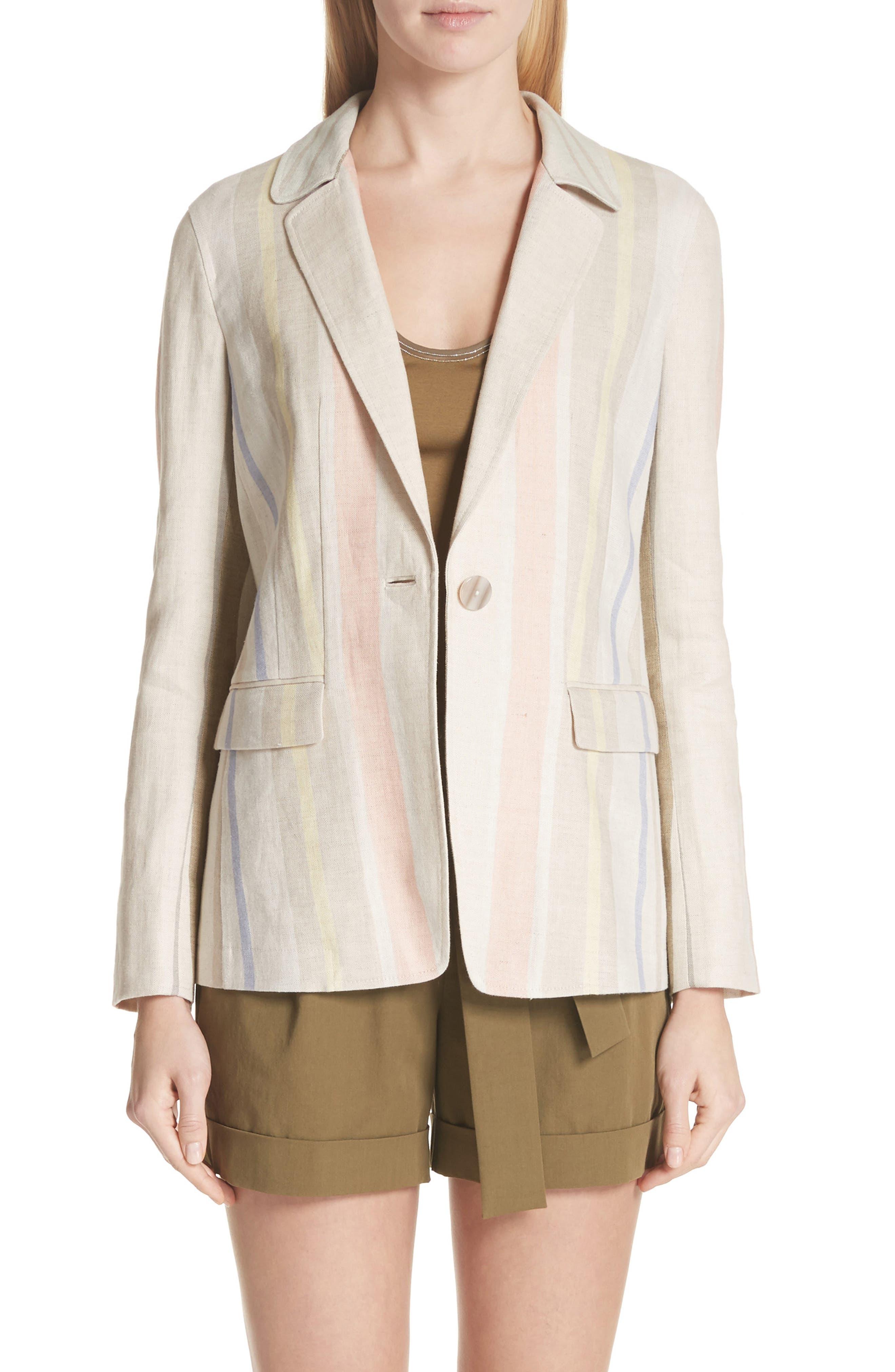 Main Image - Lafayette 148 New York Marie Stripe Linen Jacket