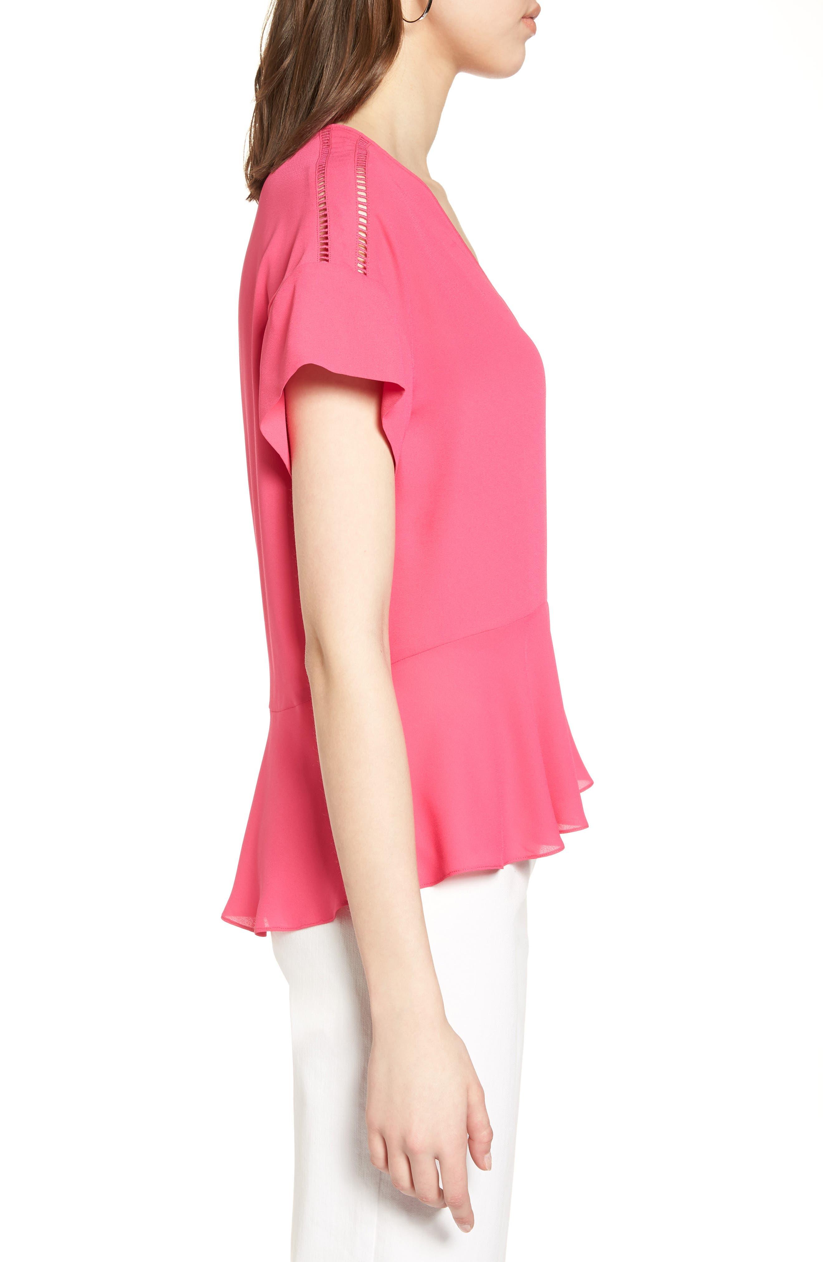 Ruffle Sleeve Peplum Stretch Cotton Blend Top,                             Alternate thumbnail 3, color,                             Pink Cabaret