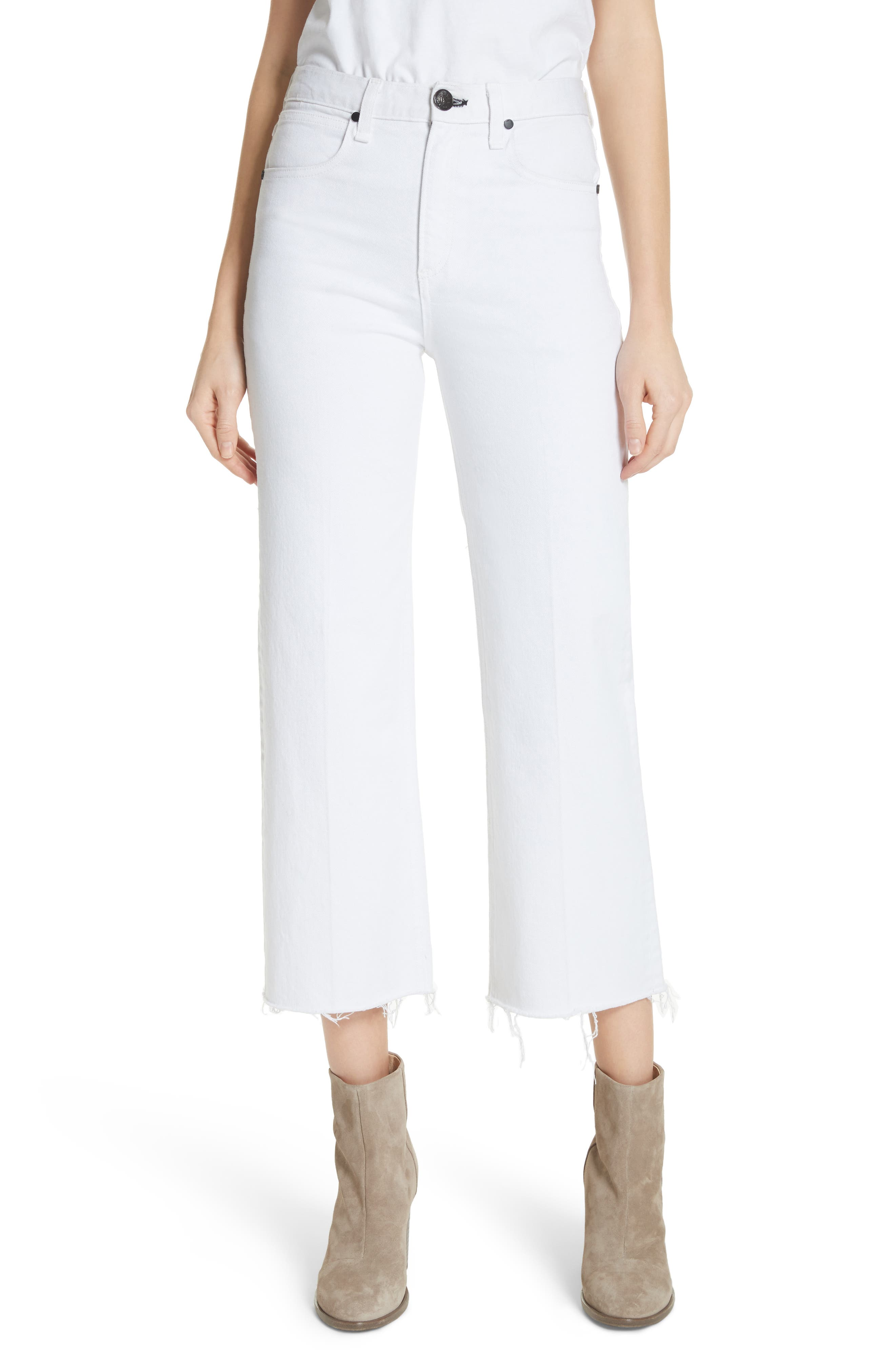 Justine High Waist Ankle Wide Leg Trouser Jeans,                         Main,                         color, White