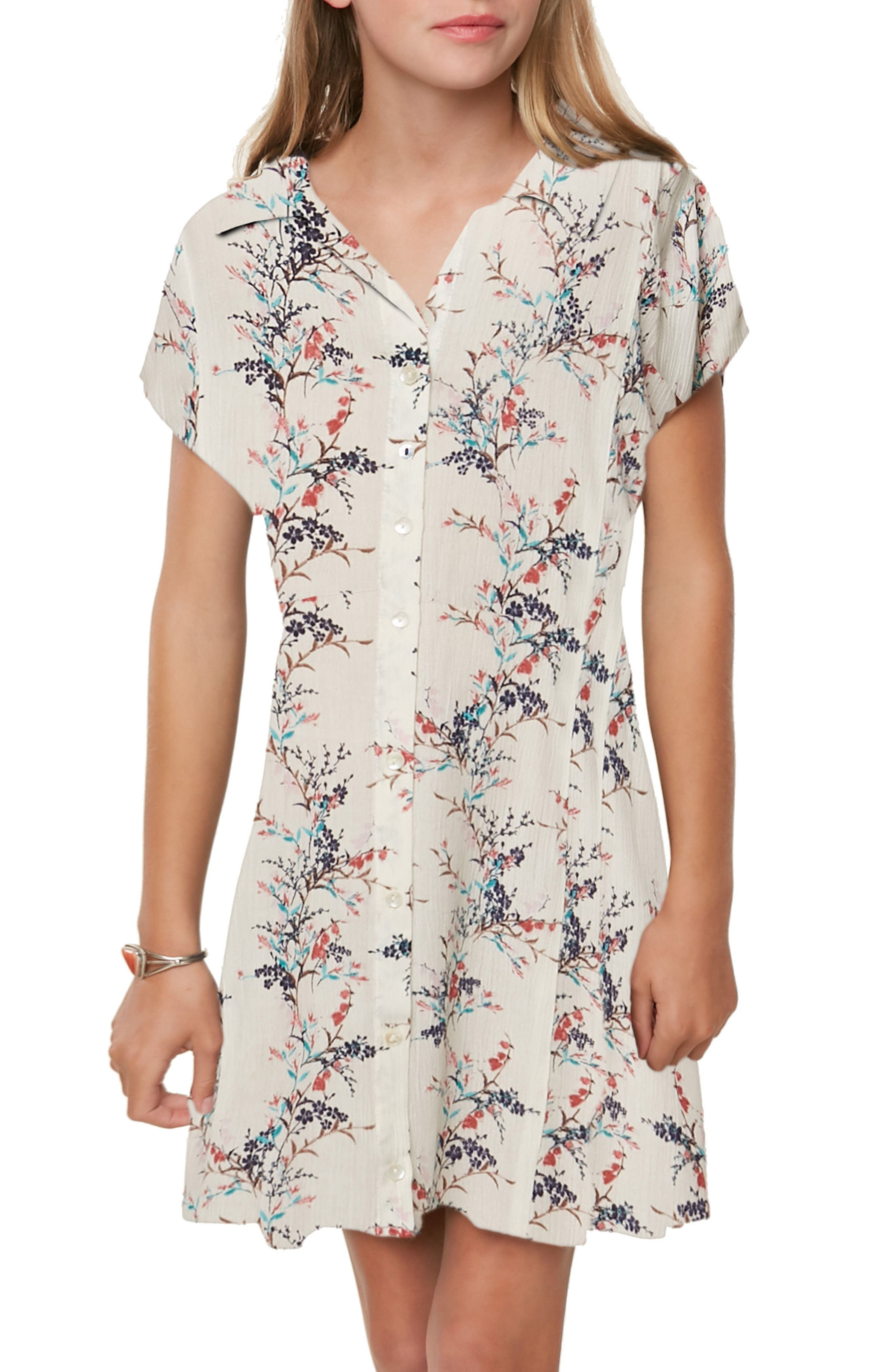Annalyn Floral Dress,                             Alternate thumbnail 4, color,                             Naked