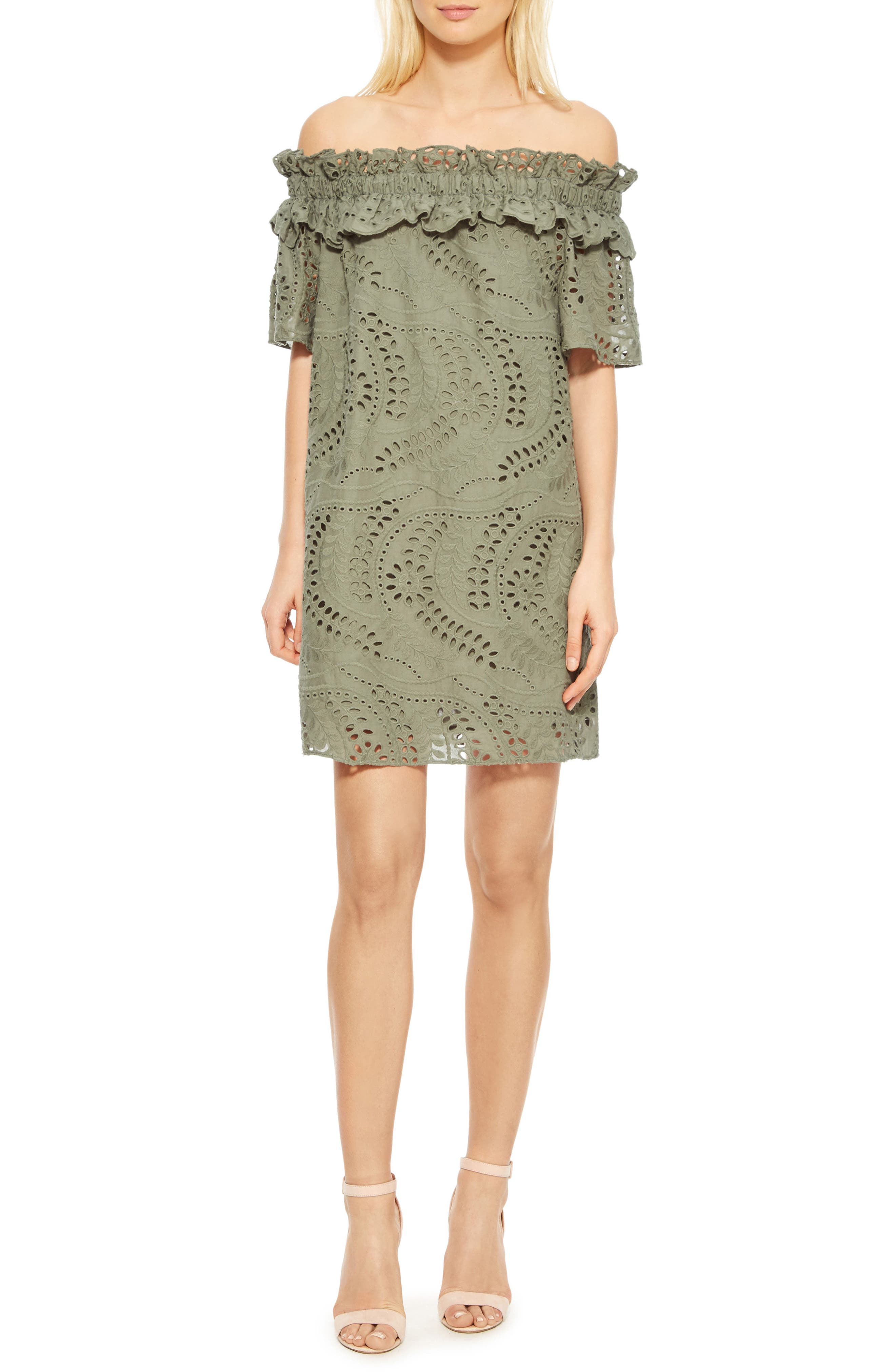 Cable Off the Shoulder Shift Dress,                         Main,                         color, Greenbriar