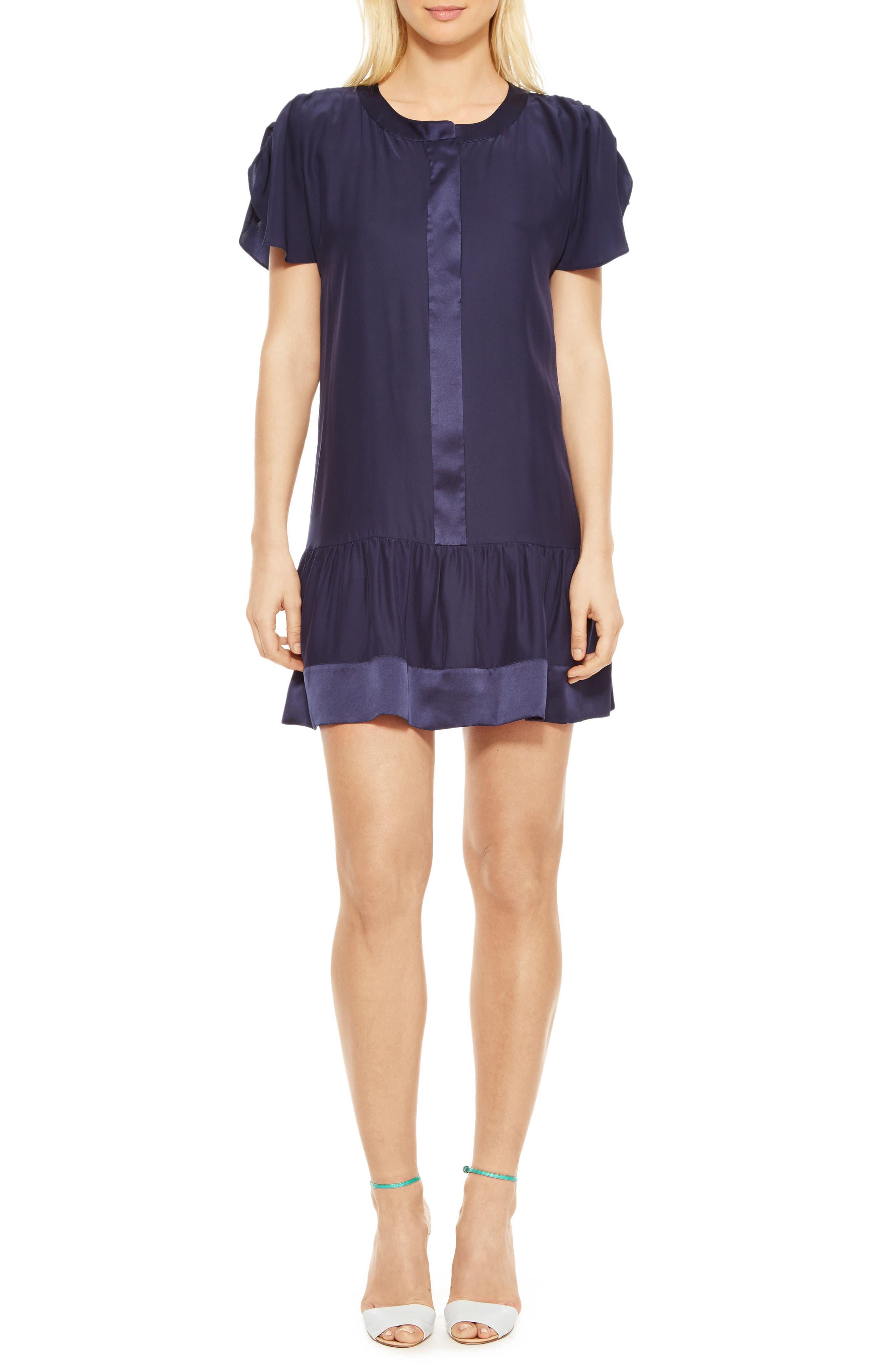 Stacey Silk Dress,                             Main thumbnail 1, color,                             Blue Horizon
