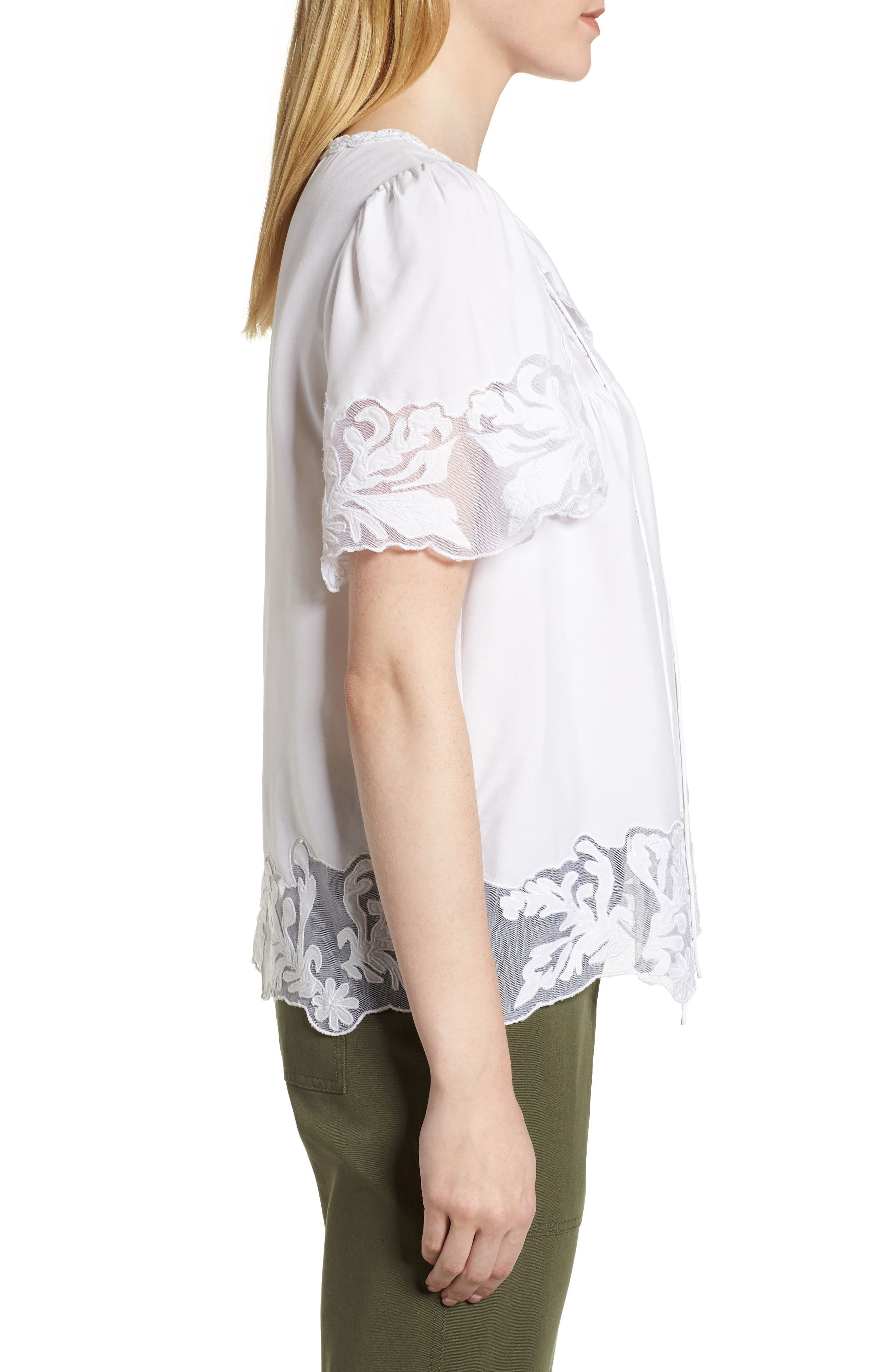 Embroidered Appliqué Top,                             Alternate thumbnail 3, color,                             White