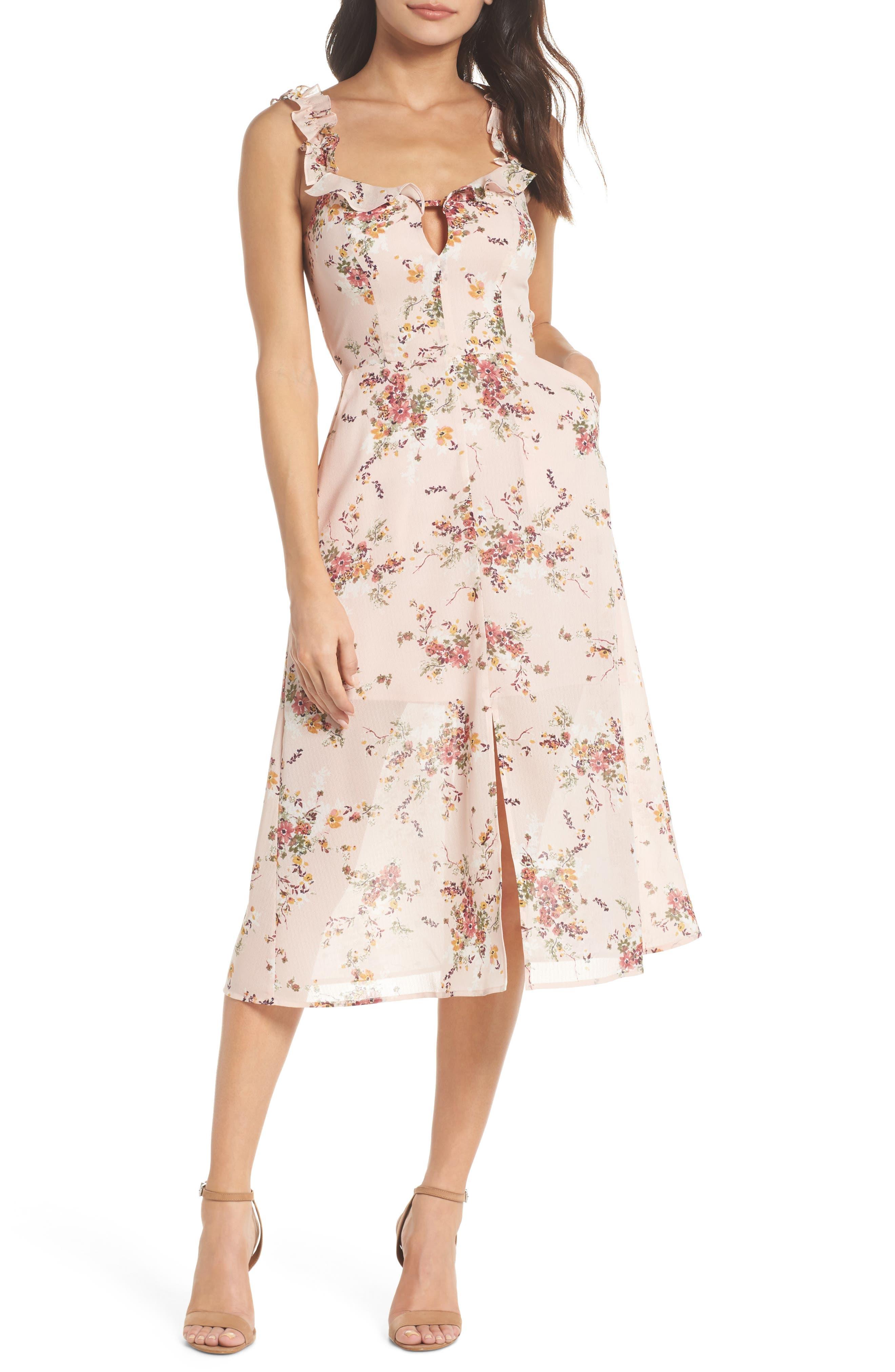 Atwater Village Midi Dress,                             Main thumbnail 1, color,                             Blush Vintage Bouquet